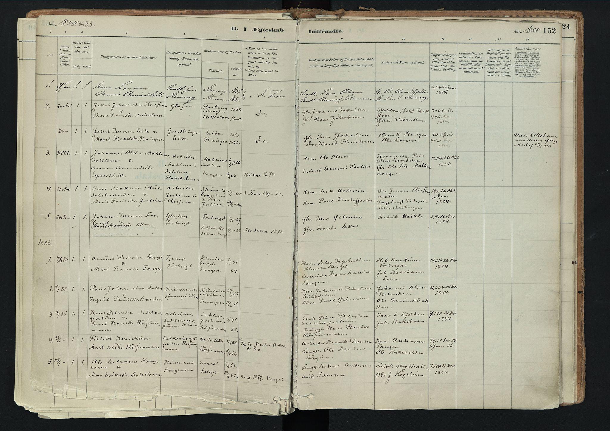 SAH, Nord-Fron prestekontor, Ministerialbok nr. 3, 1884-1914, s. 152