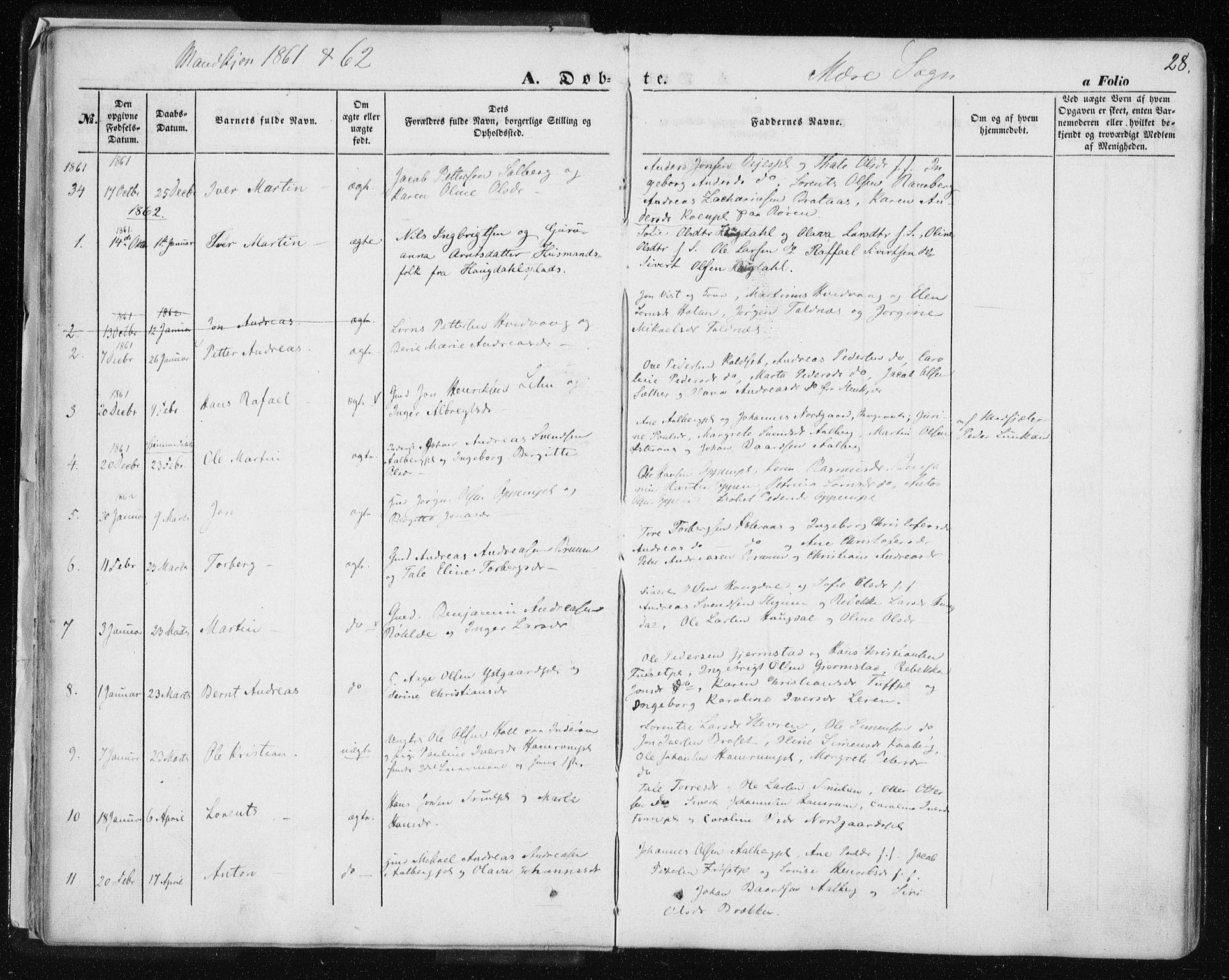 SAT, Ministerialprotokoller, klokkerbøker og fødselsregistre - Nord-Trøndelag, 735/L0342: Ministerialbok nr. 735A07 /1, 1849-1862, s. 28