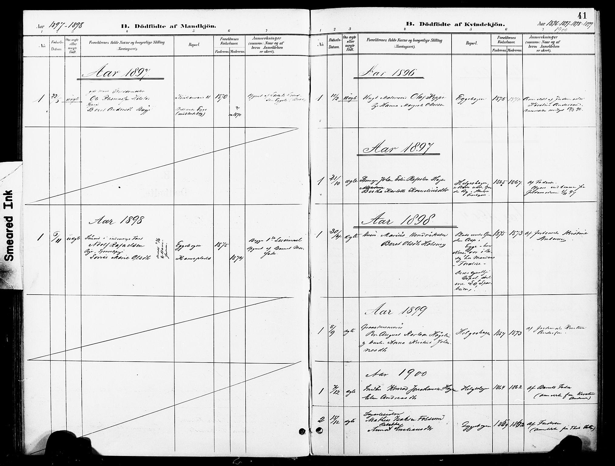 SAT, Ministerialprotokoller, klokkerbøker og fødselsregistre - Nord-Trøndelag, 740/L0379: Ministerialbok nr. 740A02, 1895-1907, s. 41