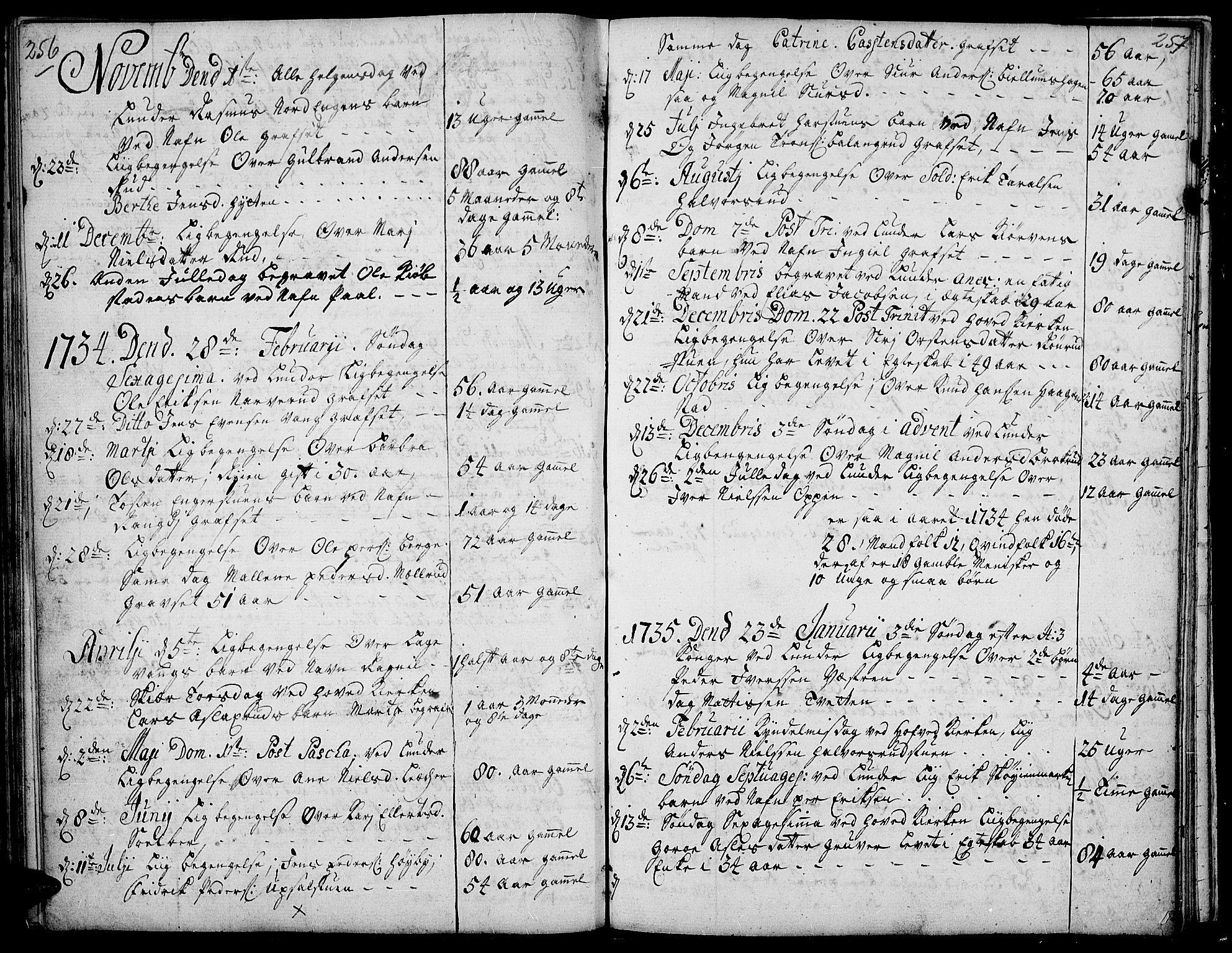 SAH, Jevnaker prestekontor, Ministerialbok nr. 2, 1725-1751, s. 256-257