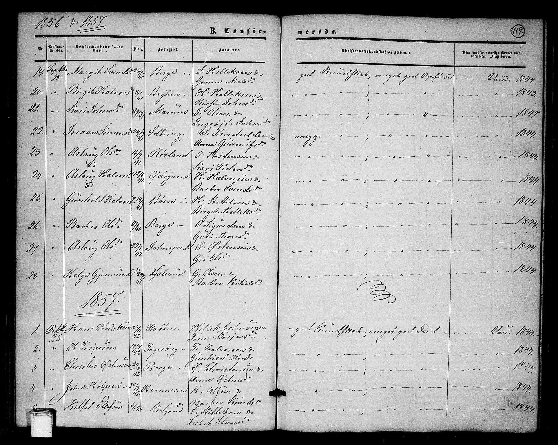 SAKO, Tinn kirkebøker, G/Ga/L0002: Klokkerbok nr. I 2, 1851-1883, s. 119