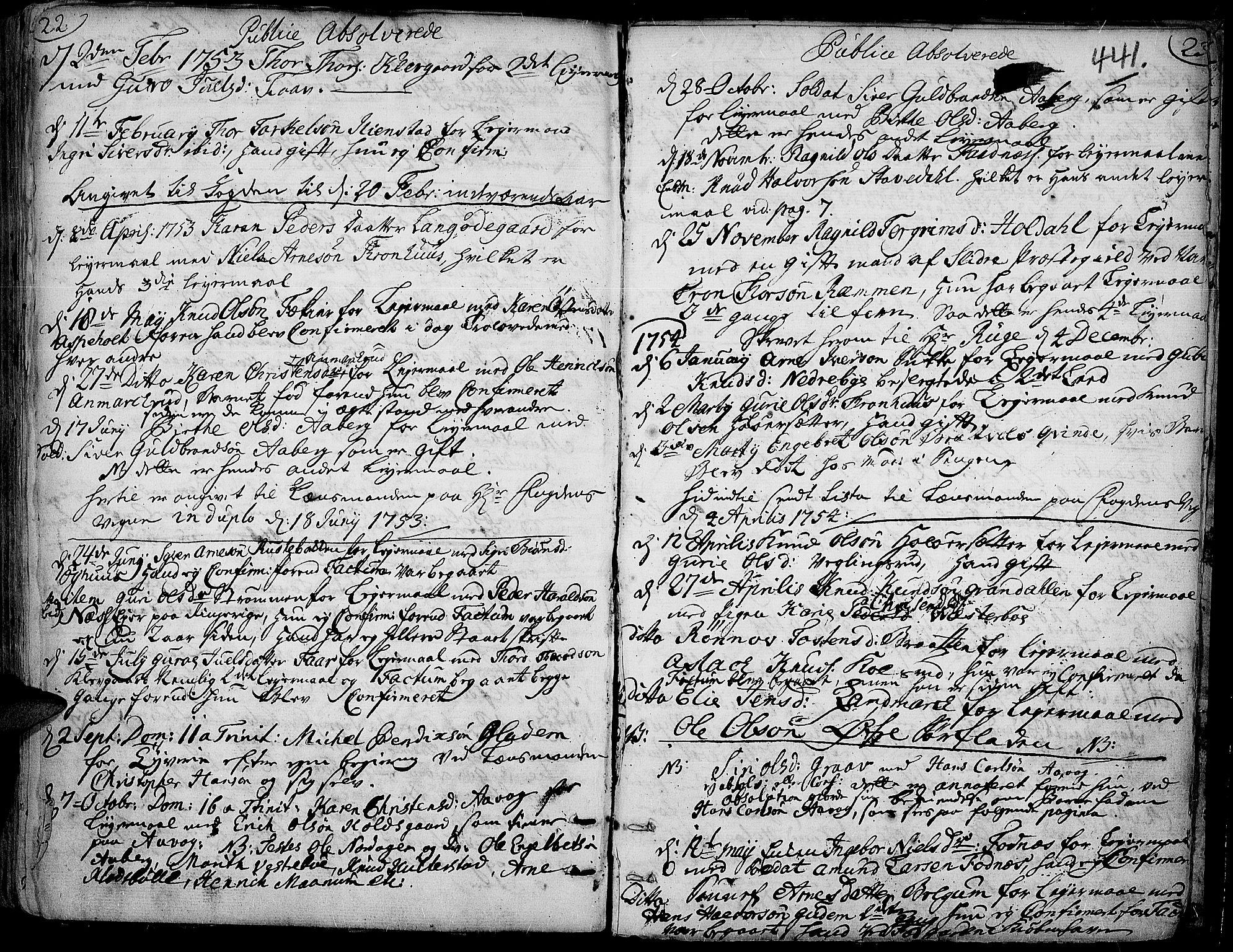 SAH, Aurdal prestekontor, Ministerialbok nr. 4, 1730-1762, s. 22-23