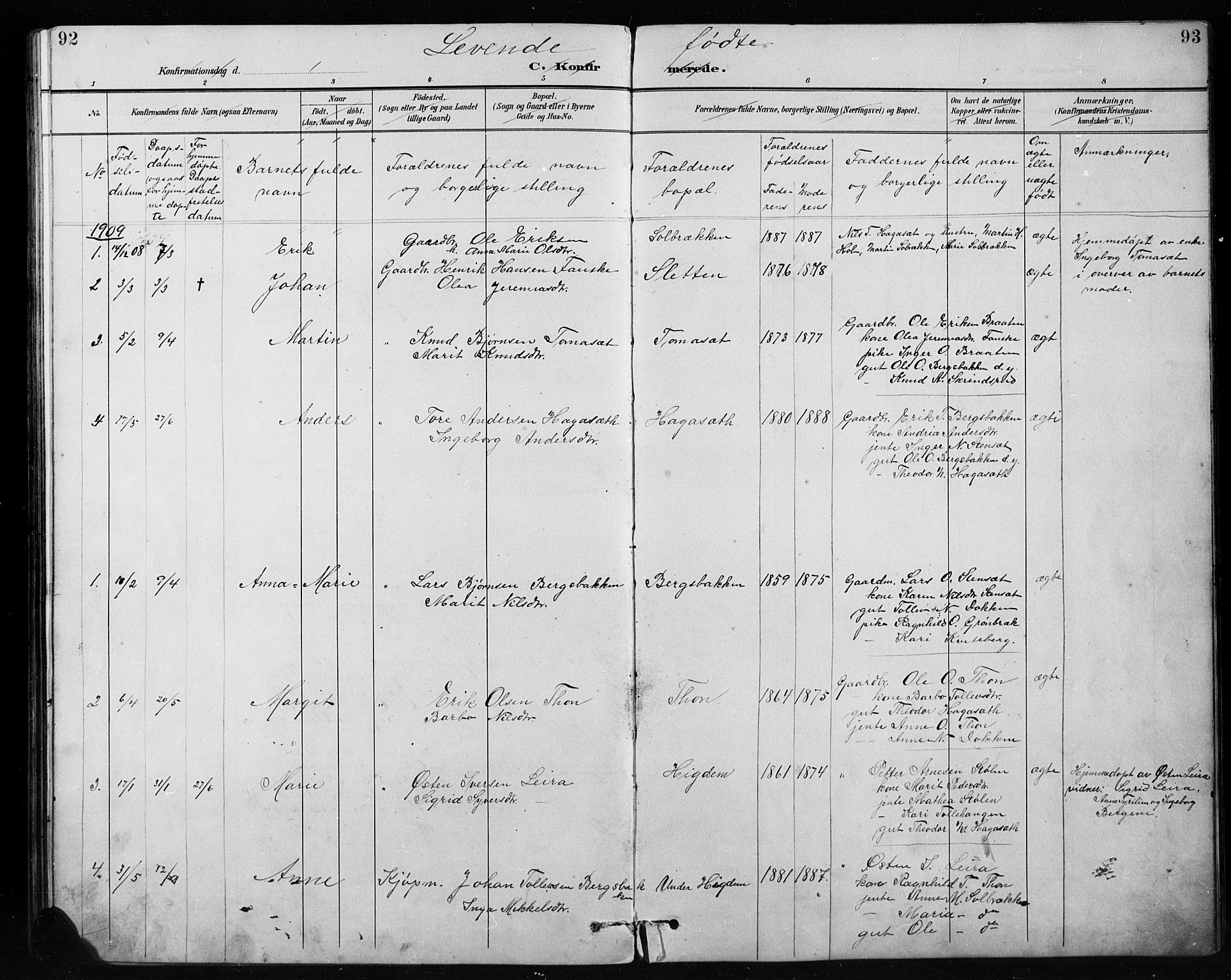 SAH, Etnedal prestekontor, H/Ha/Hab/Habb/L0001: Klokkerbok nr. II 1, 1894-1911, s. 92-93