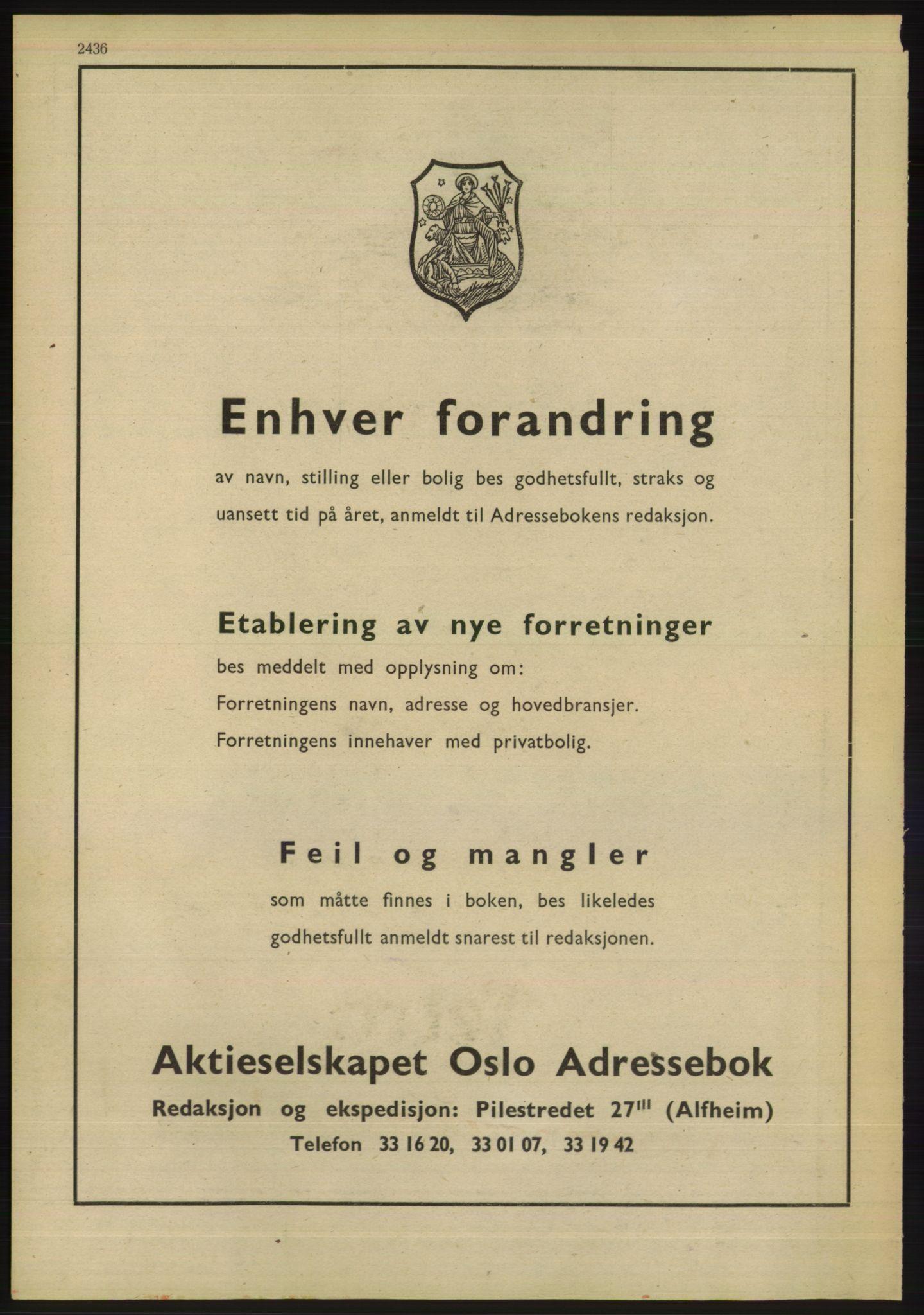 RA, Oslo adressebok (publikasjon)*, 1947, s. 2436