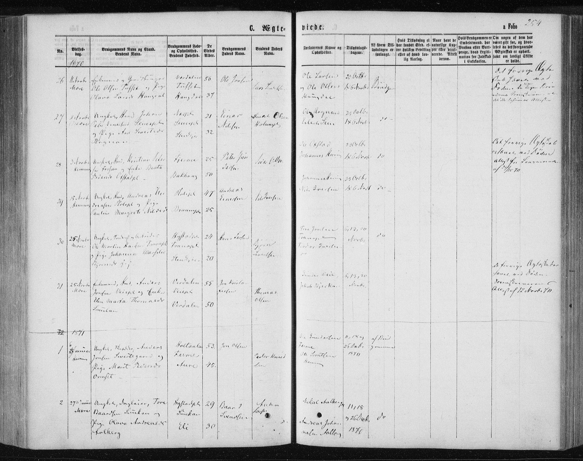 SAT, Ministerialprotokoller, klokkerbøker og fødselsregistre - Nord-Trøndelag, 735/L0345: Ministerialbok nr. 735A08 /1, 1863-1872, s. 254