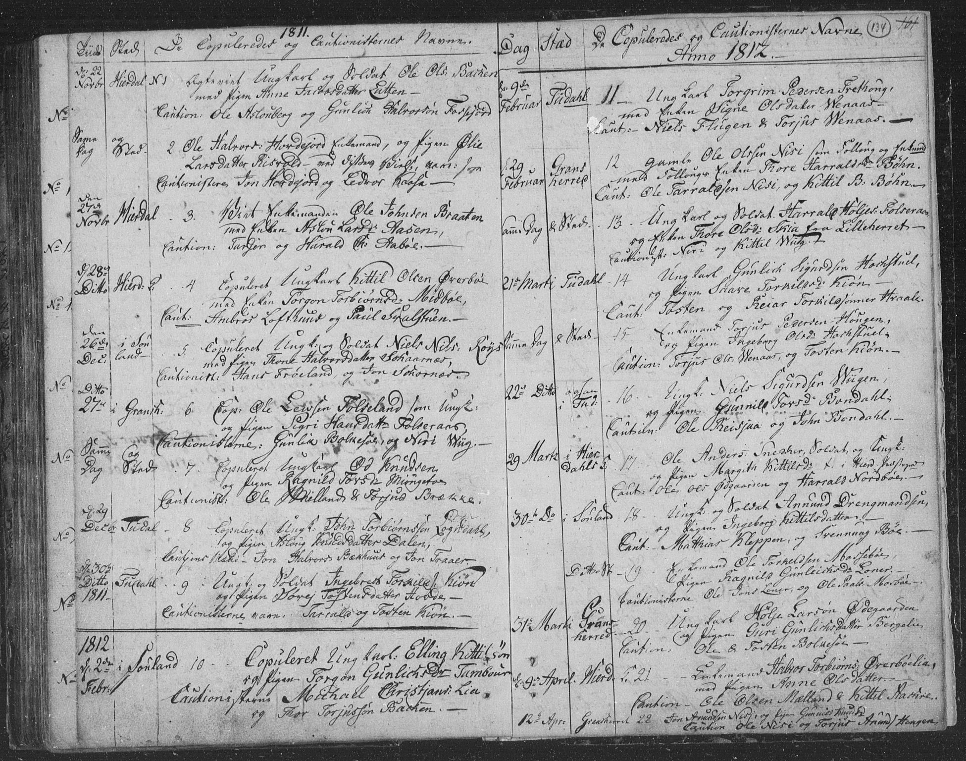 SAKO, Hjartdal kirkebøker, F/Fa/L0006: Ministerialbok nr. I 6, 1801-1814, s. 134