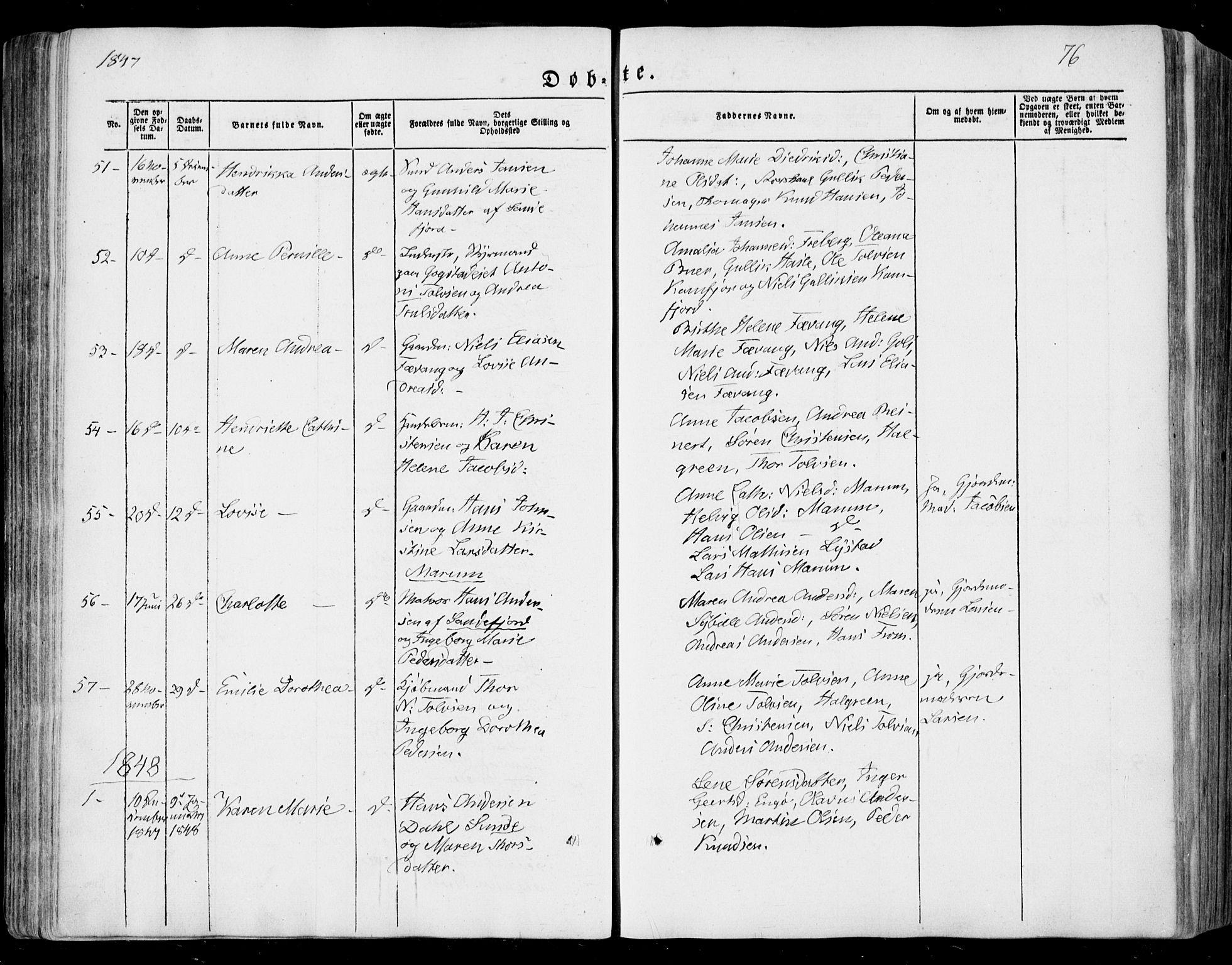 SAKO, Sandar kirkebøker, F/Fa/L0006: Ministerialbok nr. 6, 1847-1860, s. 76