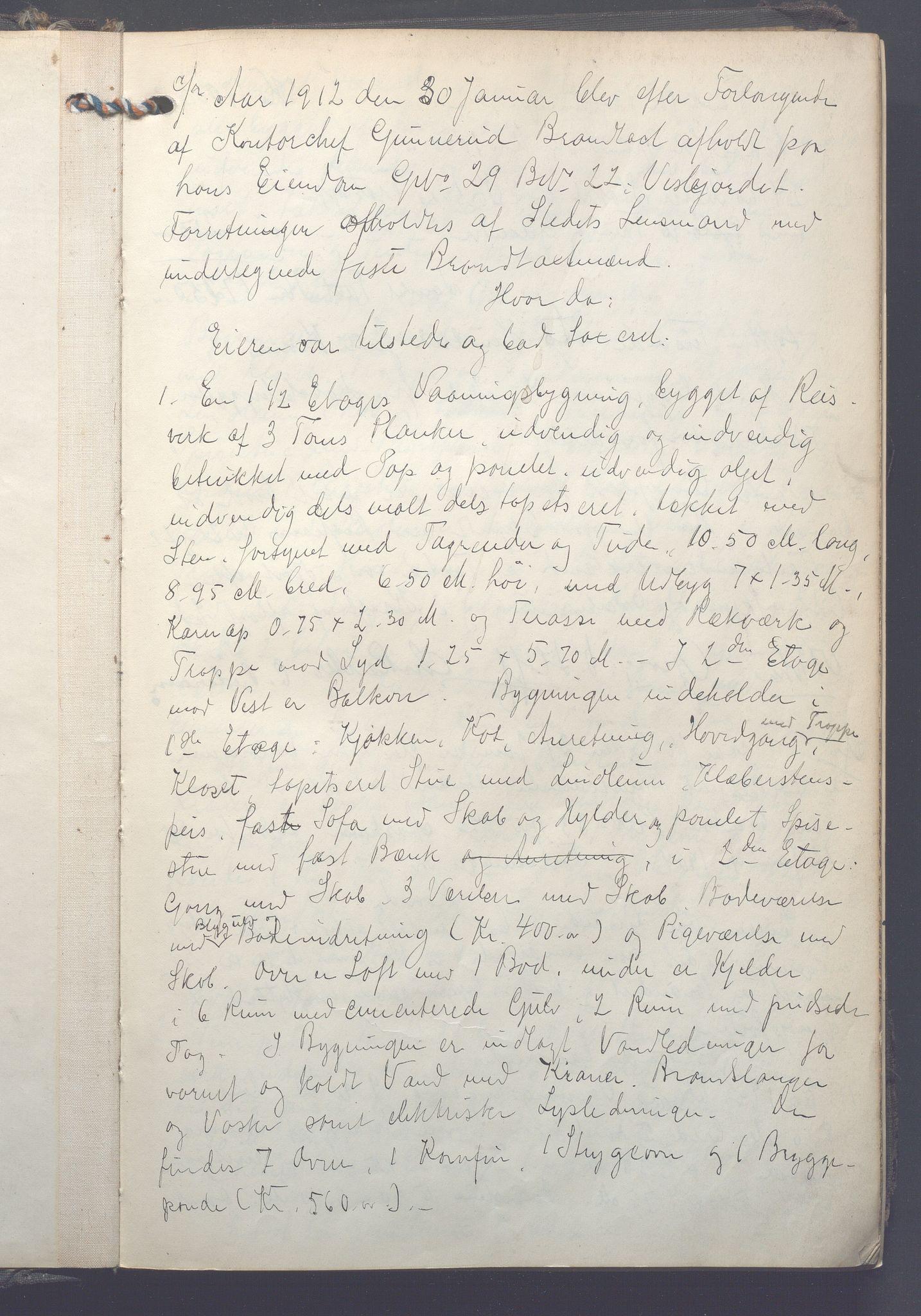 OBA, Lensmennene i Aker, F/Fa/L0016: Branntakstprotokoll, 1912-1913, s. 0a