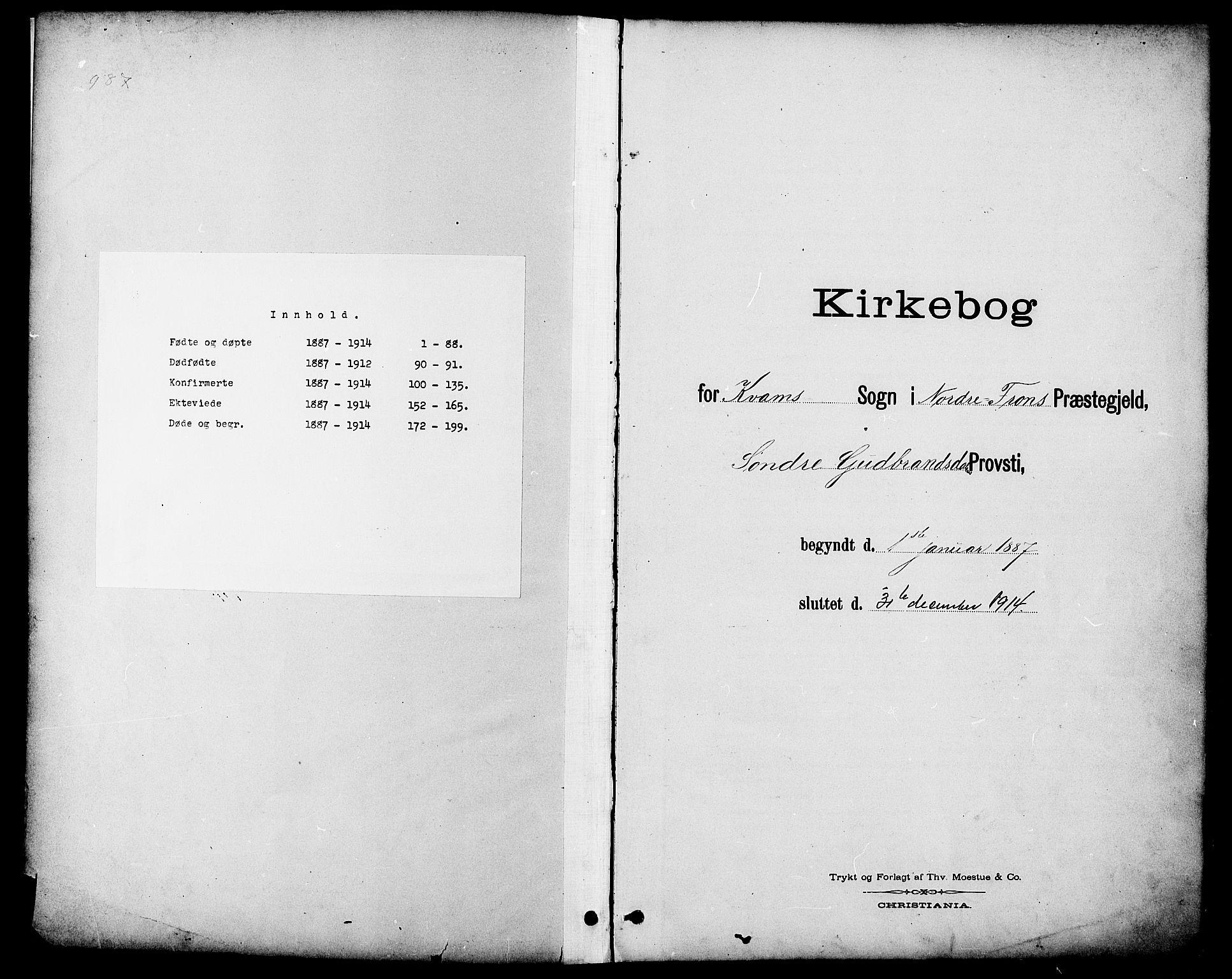 SAH, Nord-Fron prestekontor, Klokkerbok nr. 6, 1887-1914