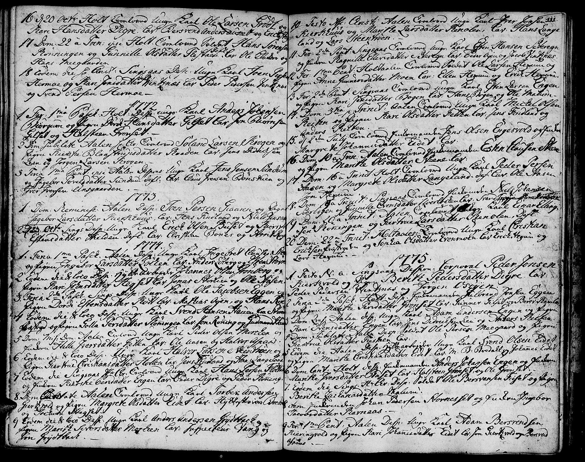 SAT, Ministerialprotokoller, klokkerbøker og fødselsregistre - Sør-Trøndelag, 685/L0952: Ministerialbok nr. 685A01, 1745-1804, s. 111