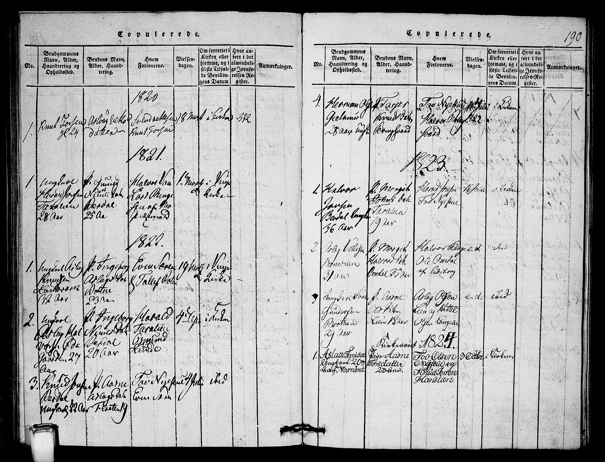 SAKO, Vinje kirkebøker, G/Gb/L0001: Klokkerbok nr. II 1, 1814-1843, s. 190