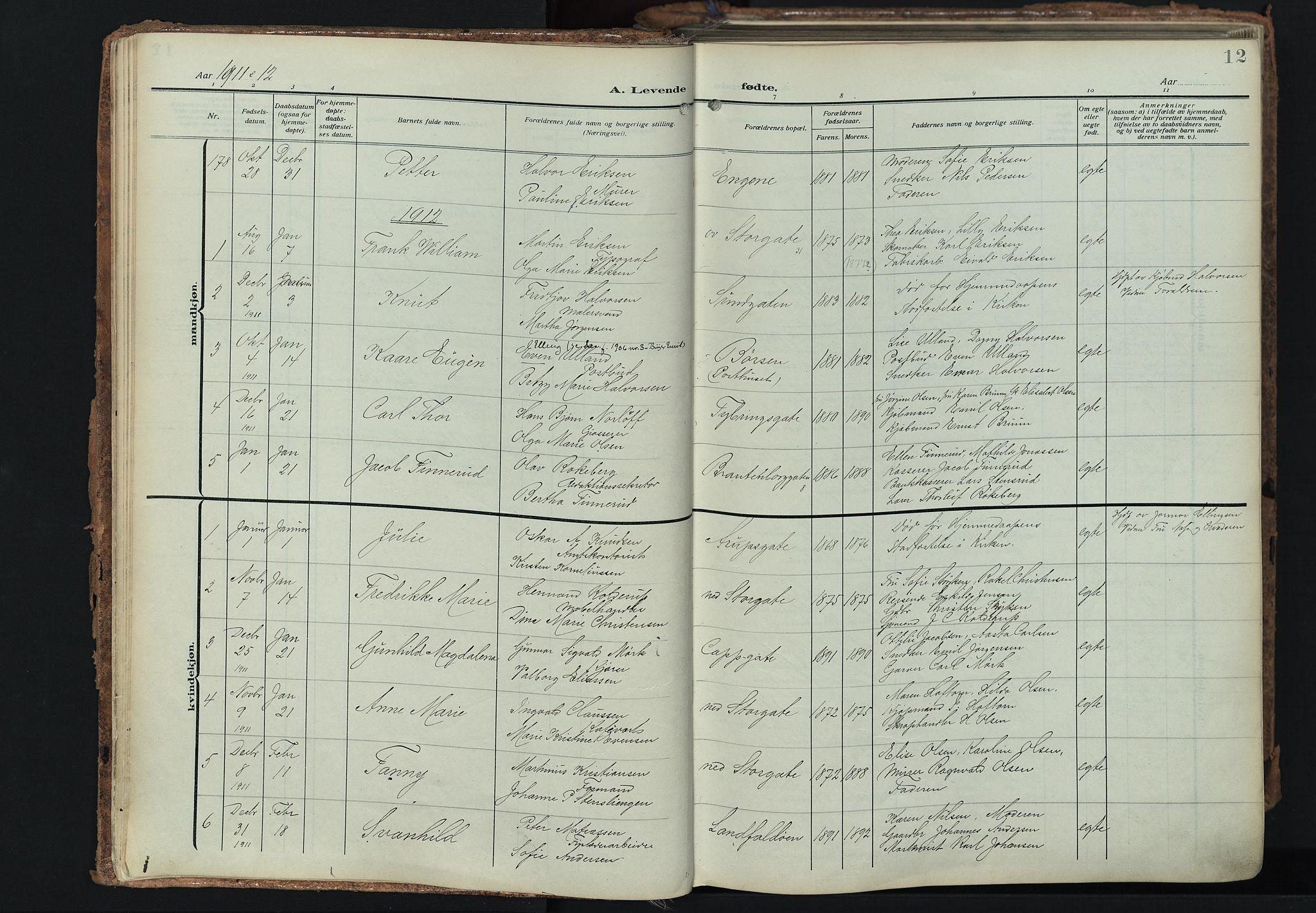 SAKO, Bragernes kirkebøker, F/Fb/L0010: Ministerialbok nr. II 10, 1911-1922, s. 12
