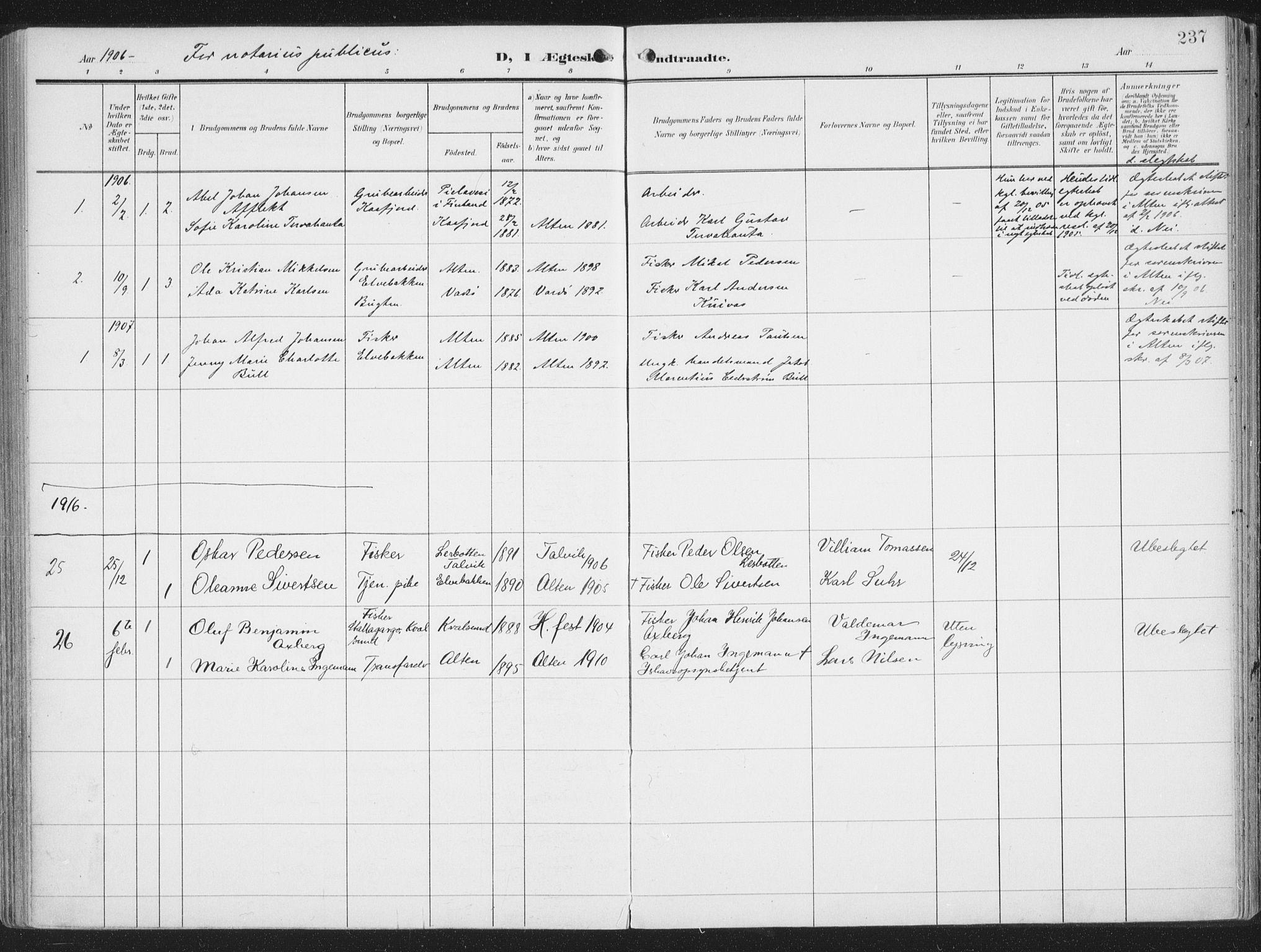 SATØ, Alta sokneprestkontor, H/Ha/L0005.kirke: Ministerialbok nr. 5, 1904-1918, s. 237