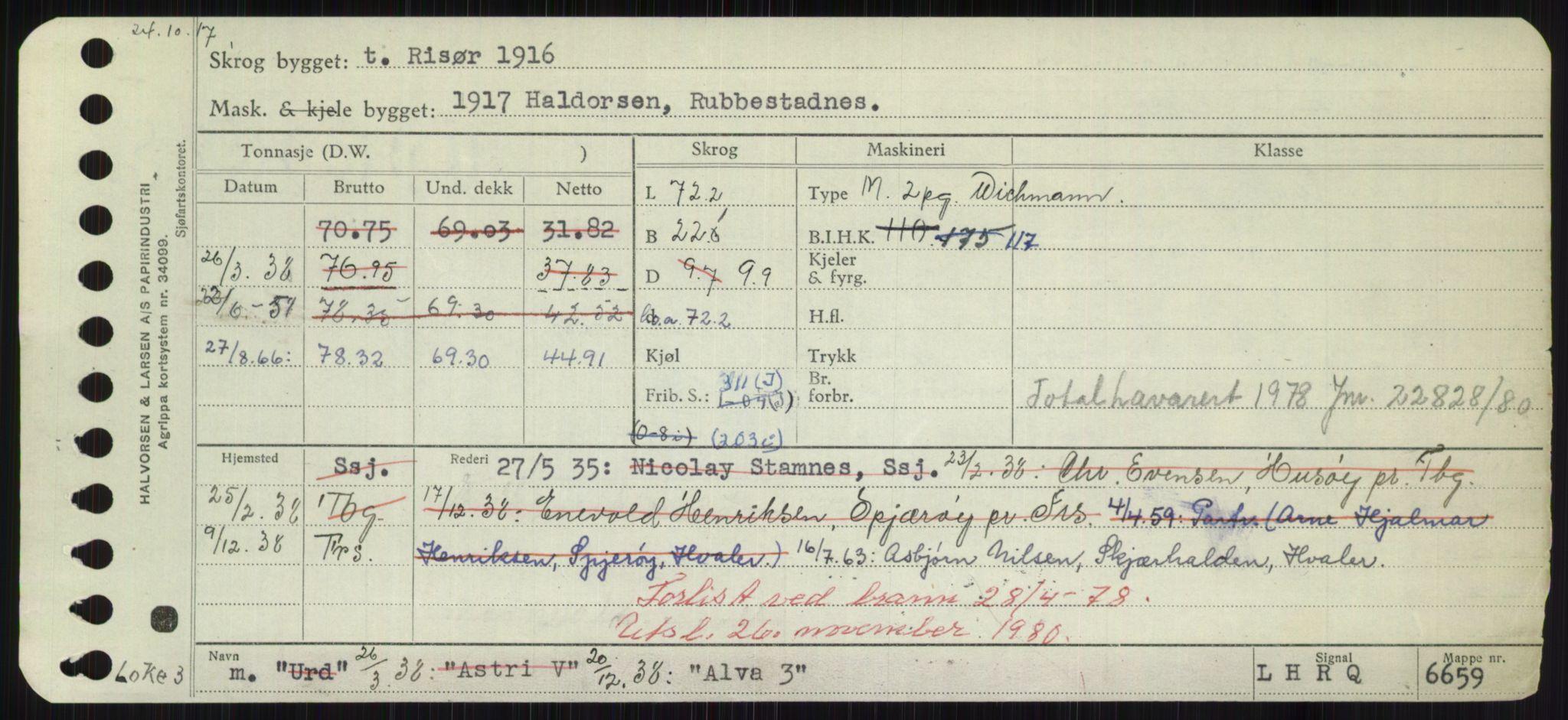 RA, Sjøfartsdirektoratet med forløpere, Skipsmålingen, H/Hd/L0001: Fartøy, A-Anv, s. 437