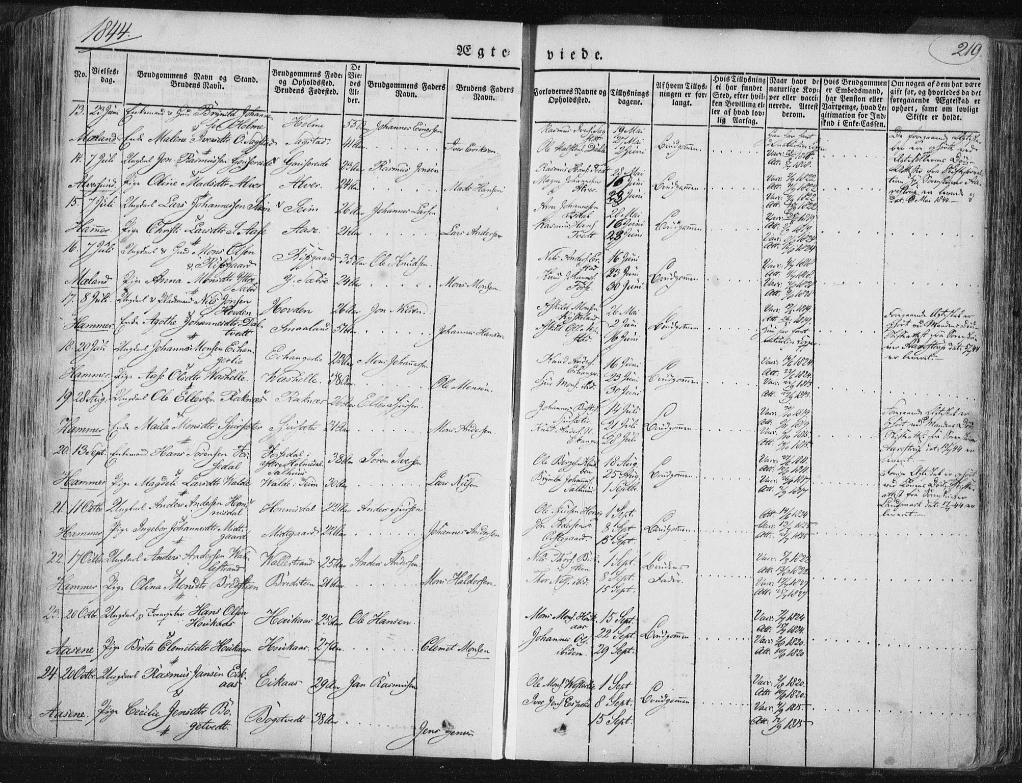 SAB, Hamre Sokneprestembete, H/Haa: Ministerialbok nr. A 12, 1834-1845, s. 219