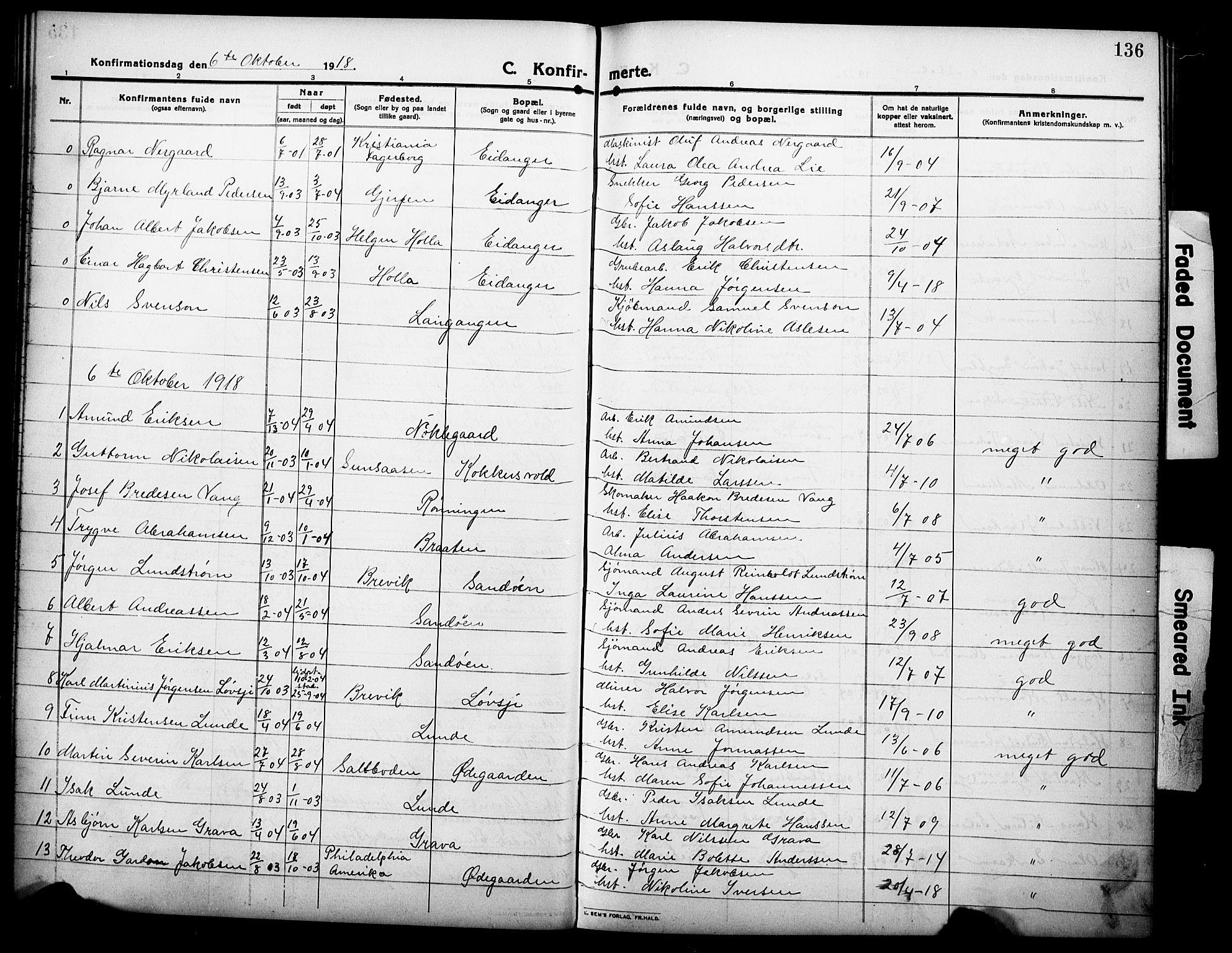 SAKO, Eidanger kirkebøker, G/Ga/L0004: Klokkerbok nr. 4, 1912-1927, s. 136