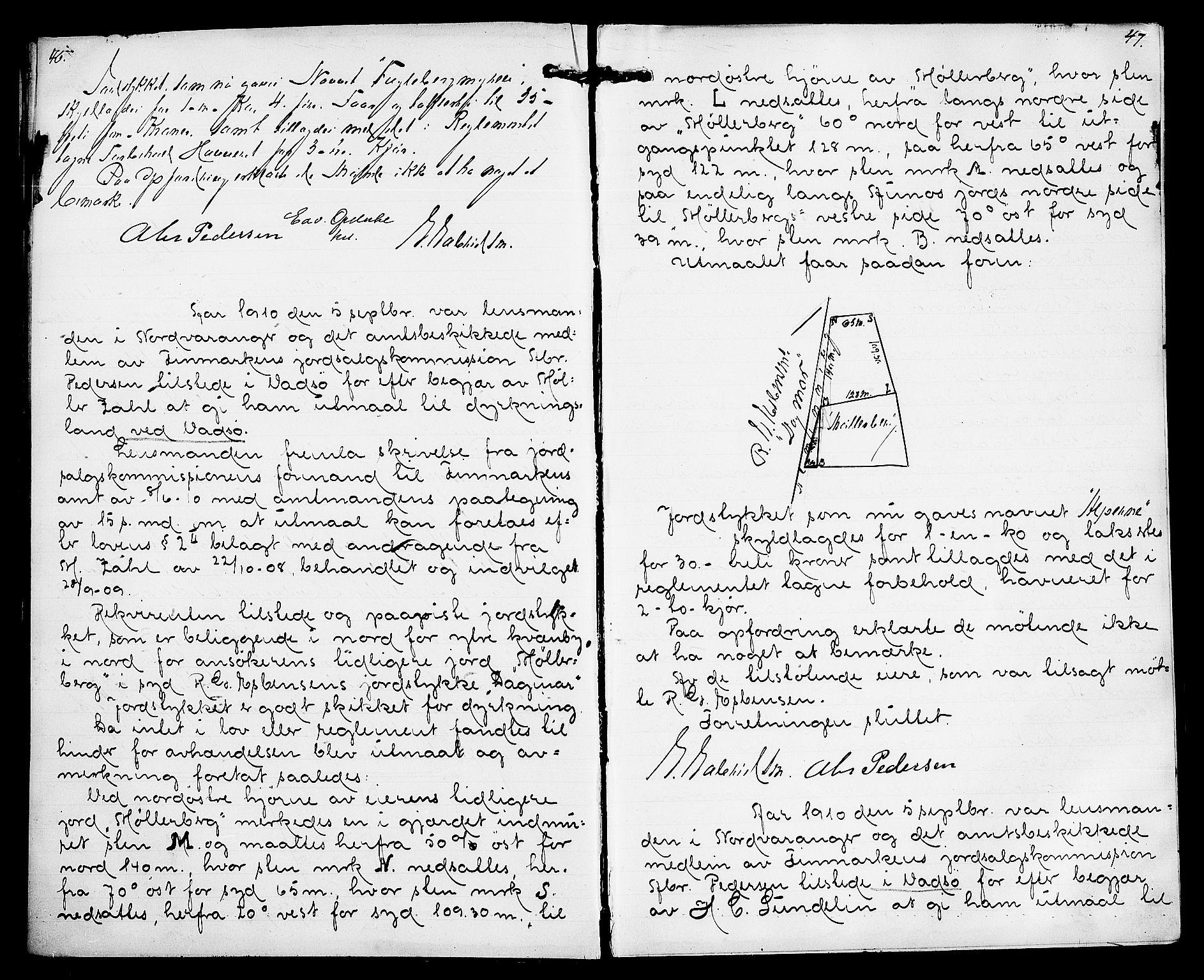 FIEI, Lensmannen i Nord-Varanger (hos Finnmarkseiendommen)*, 1908-1915, s. 46-47