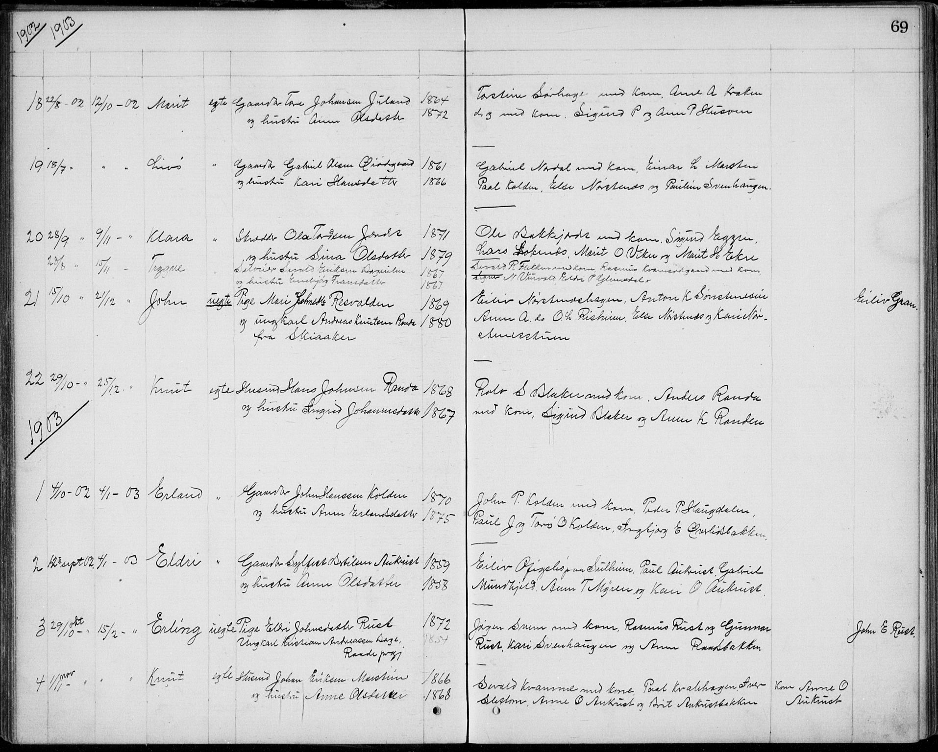 SAH, Lom prestekontor, L/L0013: Klokkerbok nr. 13, 1874-1938, s. 69