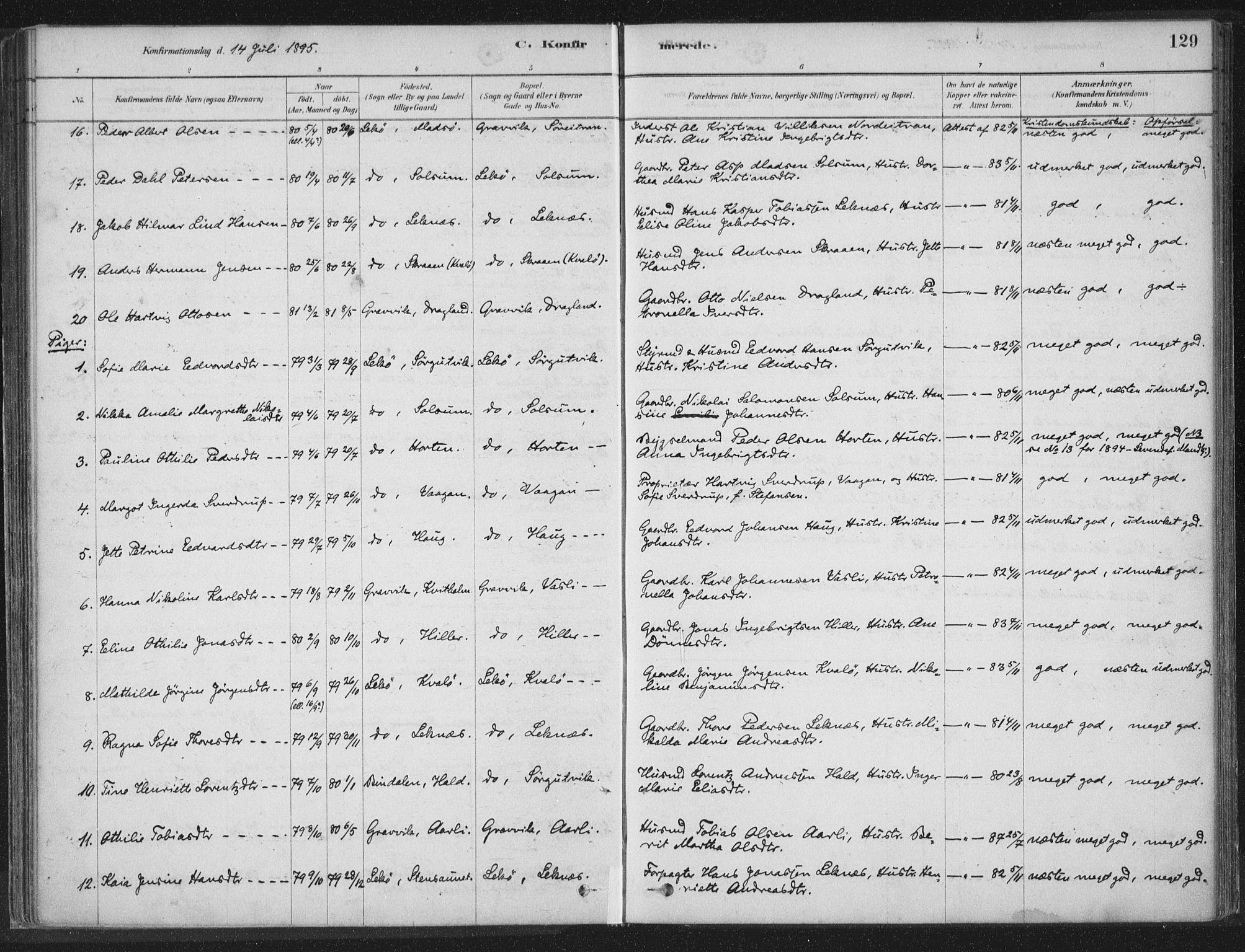 SAT, Ministerialprotokoller, klokkerbøker og fødselsregistre - Nord-Trøndelag, 788/L0697: Ministerialbok nr. 788A04, 1878-1902, s. 129