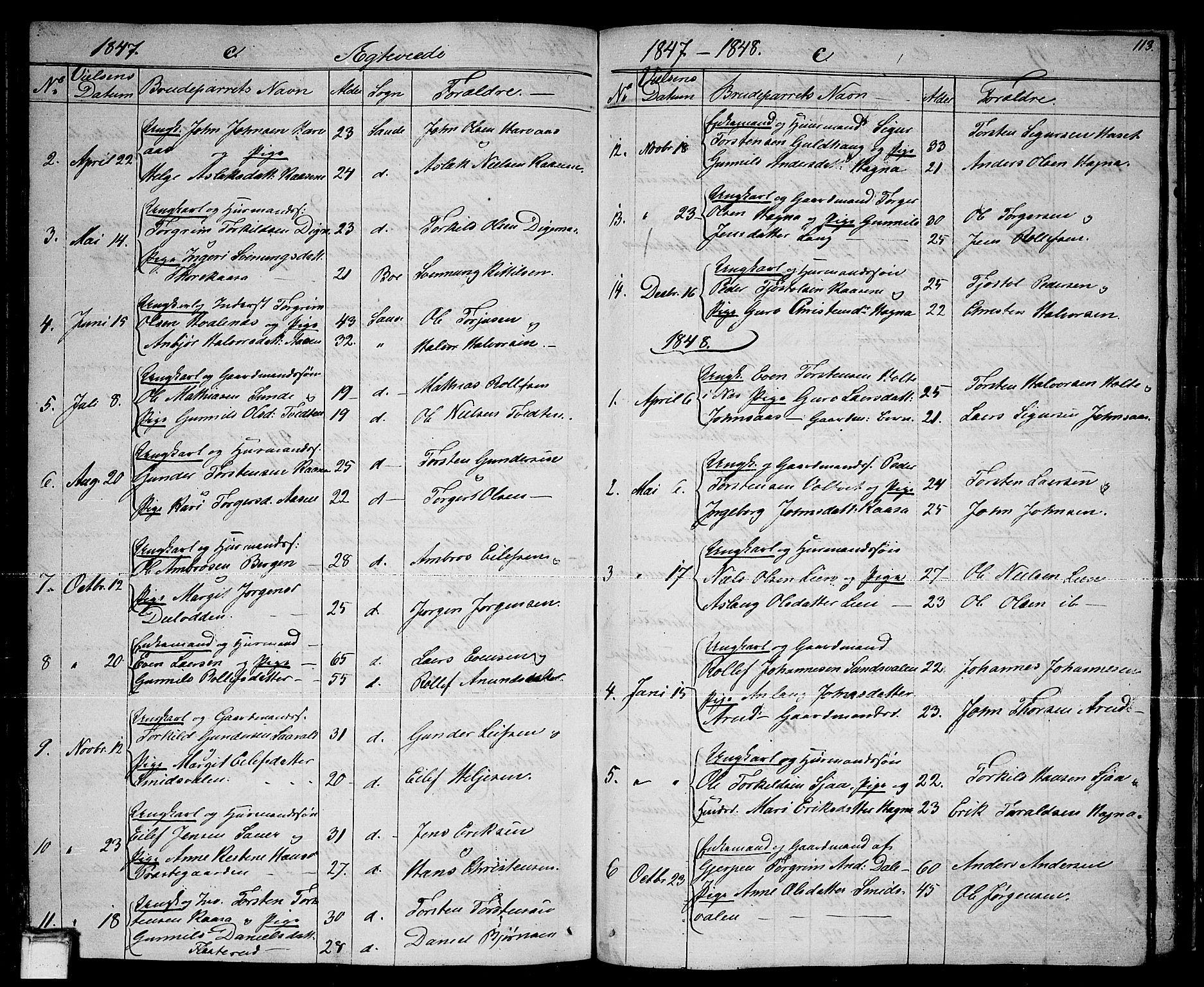 SAKO, Sauherad kirkebøker, G/Ga/L0002: Klokkerbok nr. I 2, 1842-1866, s. 113