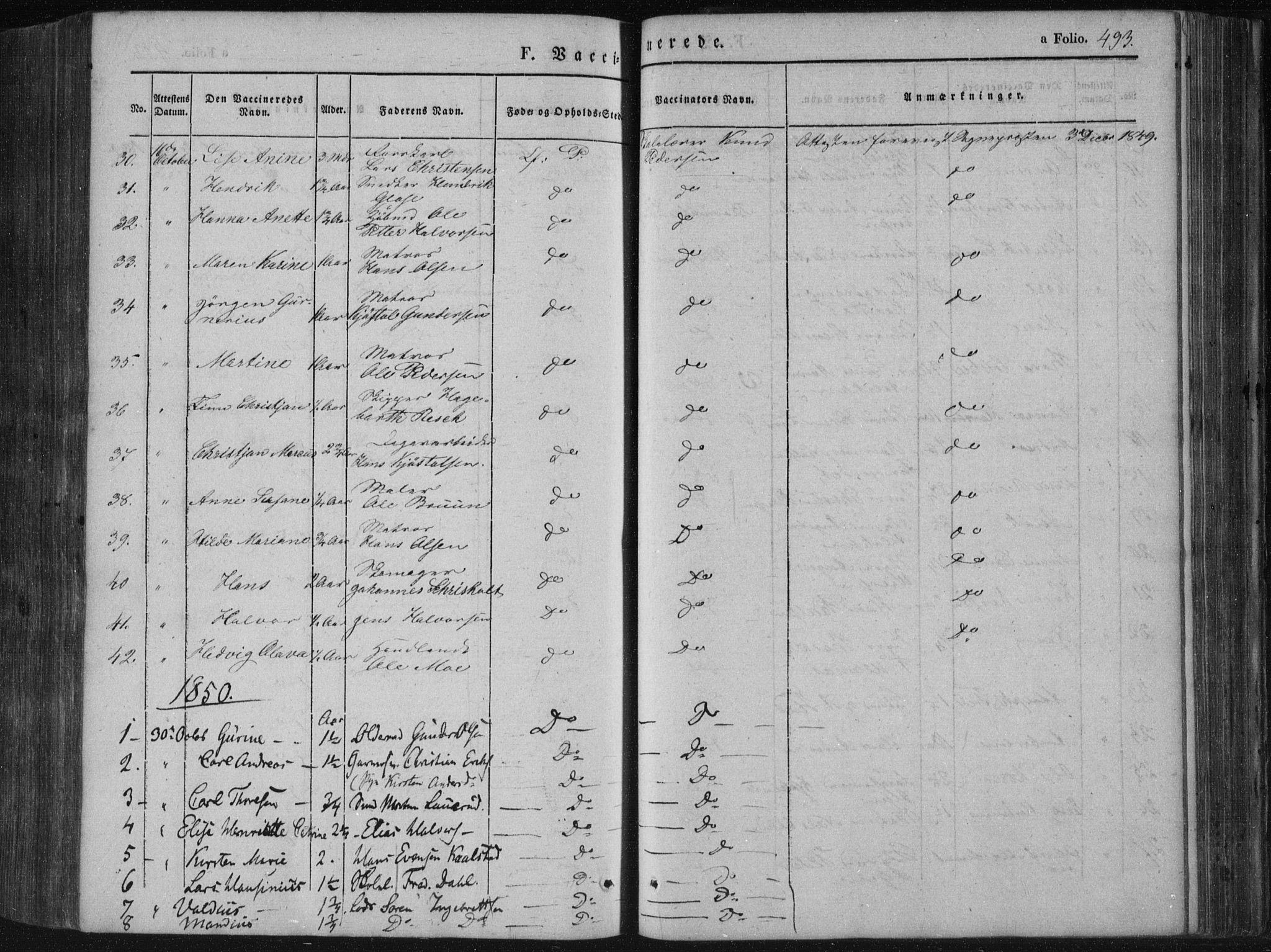 SAKO, Porsgrunn kirkebøker , F/Fa/L0006: Ministerialbok nr. 6, 1841-1857, s. 493