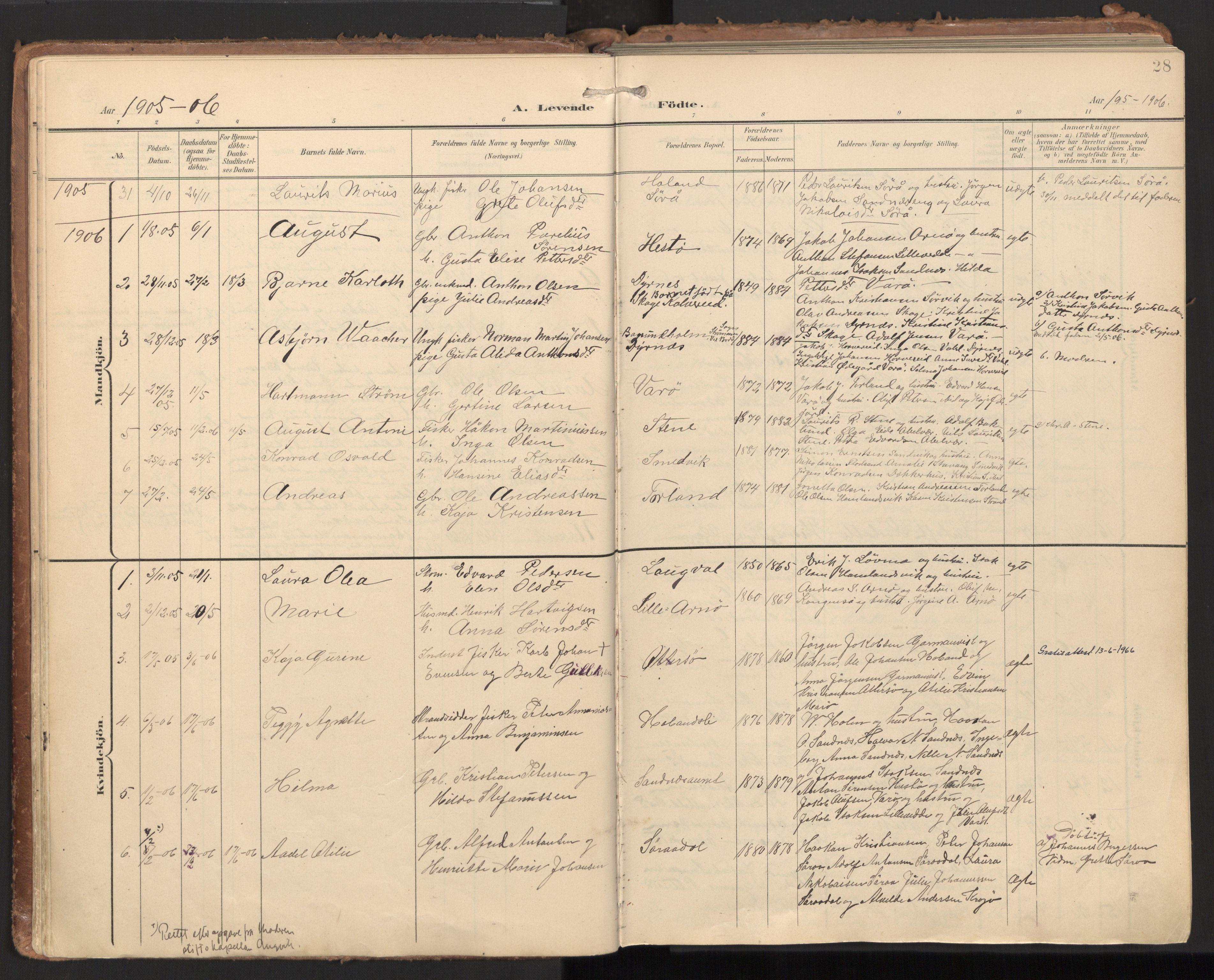 SAT, Ministerialprotokoller, klokkerbøker og fødselsregistre - Nord-Trøndelag, 784/L0677: Ministerialbok nr. 784A12, 1900-1920, s. 28