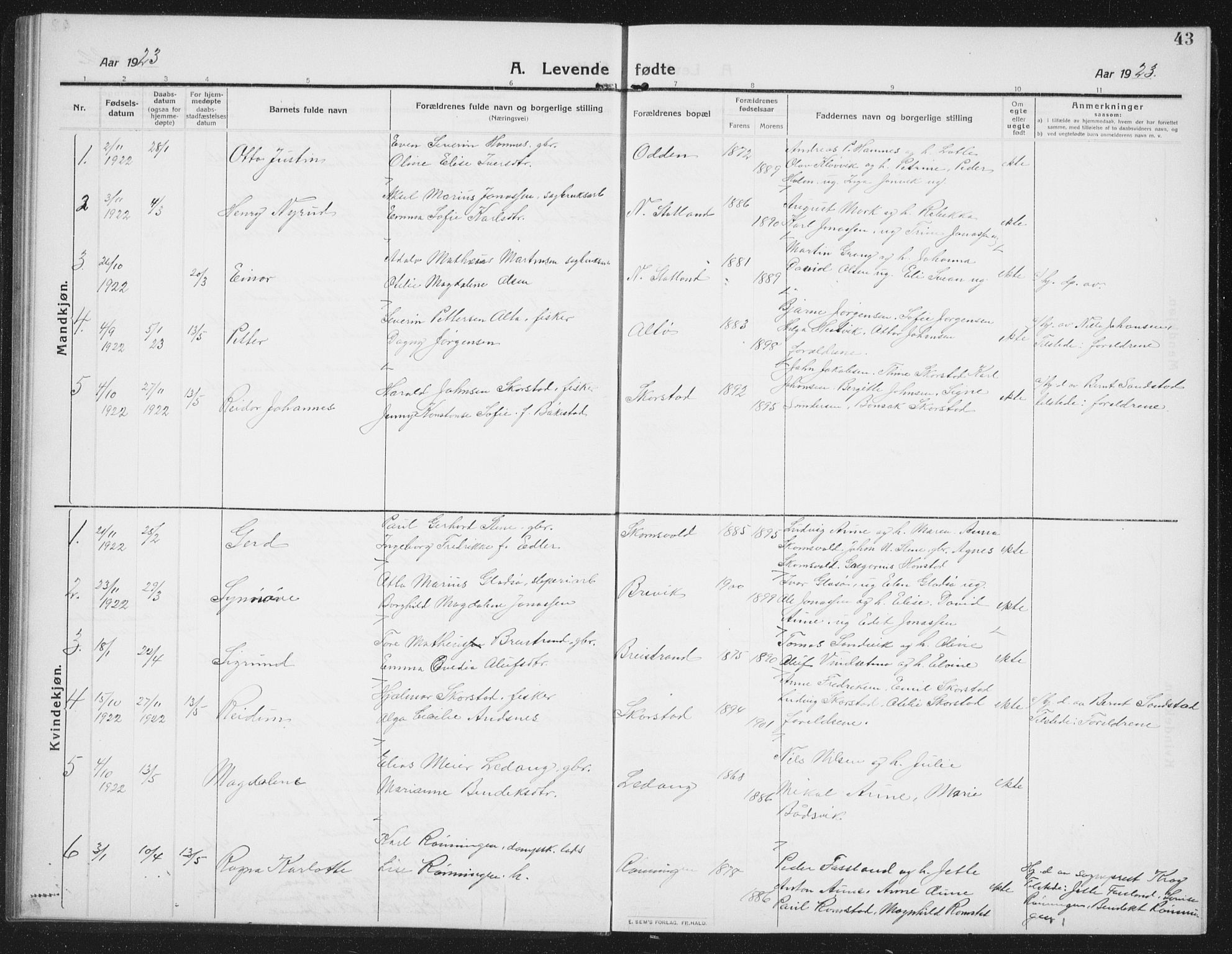 SAT, Ministerialprotokoller, klokkerbøker og fødselsregistre - Nord-Trøndelag, 774/L0630: Klokkerbok nr. 774C01, 1910-1934, s. 43