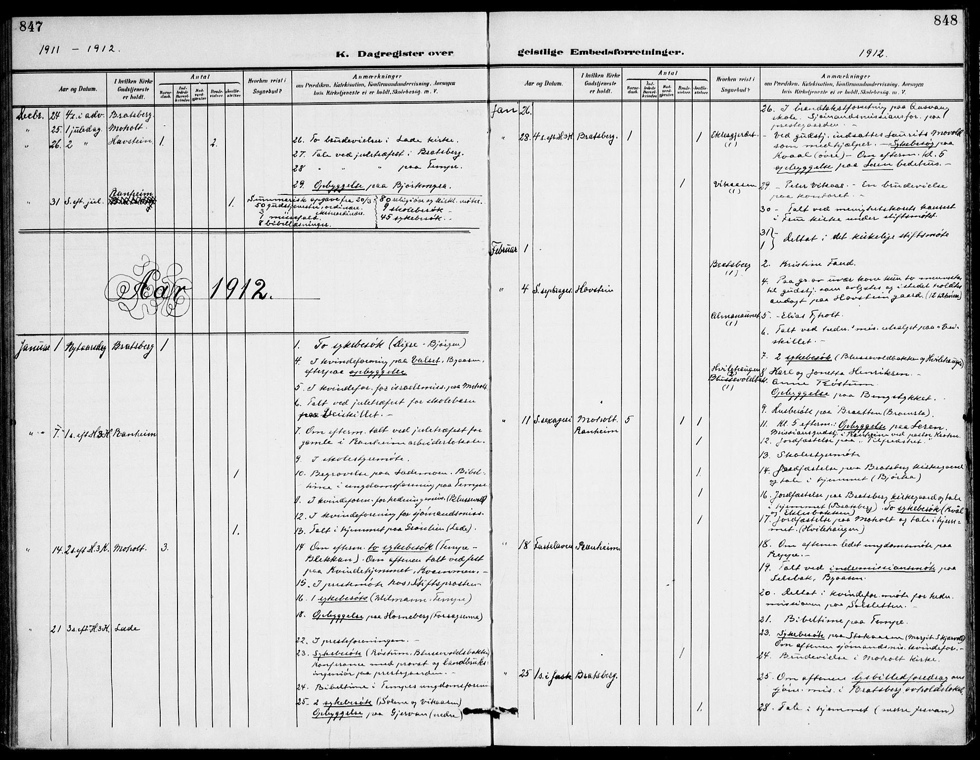 SAT, Ministerialprotokoller, klokkerbøker og fødselsregistre - Sør-Trøndelag, 607/L0320: Ministerialbok nr. 607A04, 1907-1915, s. 847-848