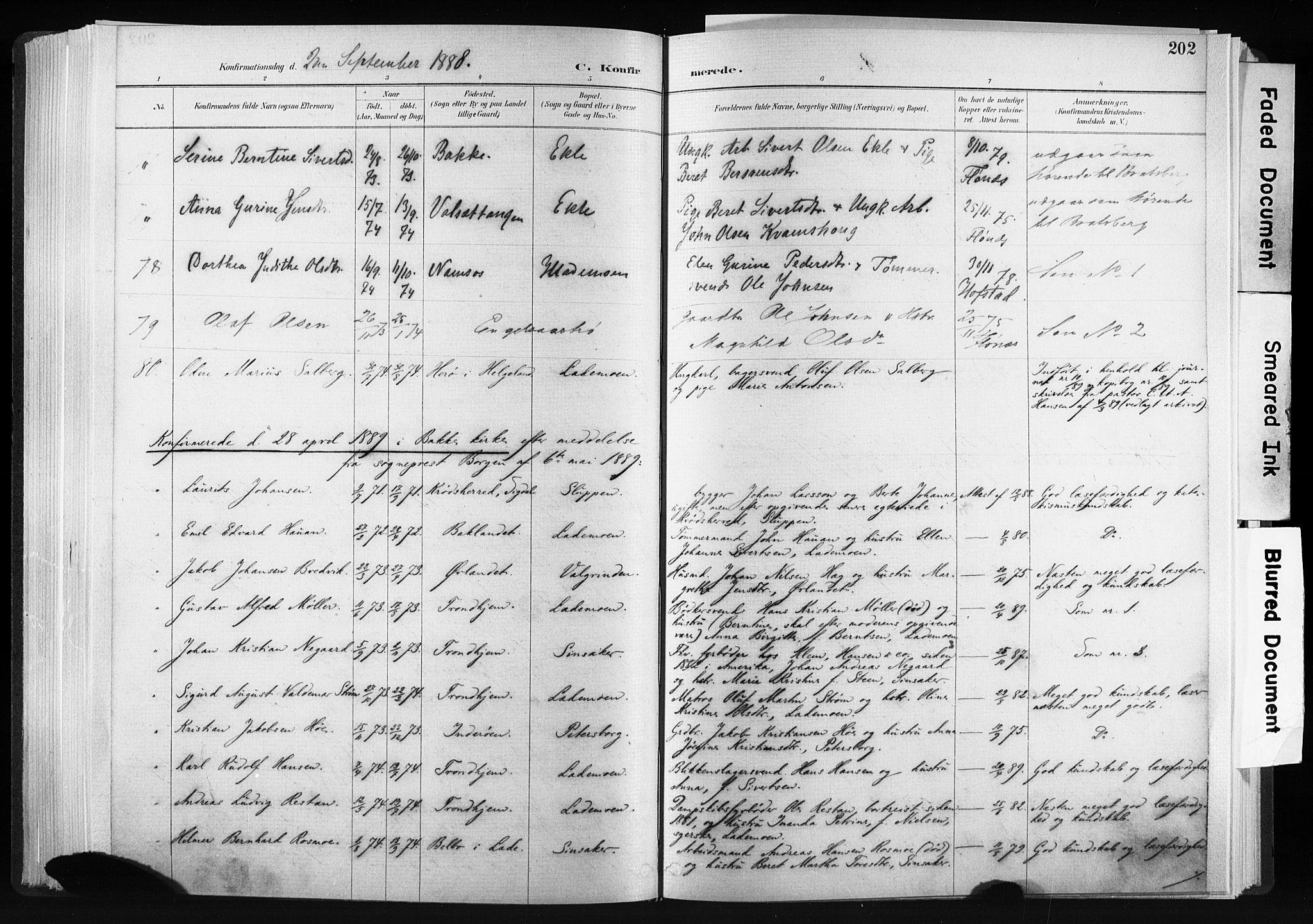 SAT, Ministerialprotokoller, klokkerbøker og fødselsregistre - Sør-Trøndelag, 606/L0300: Ministerialbok nr. 606A15, 1886-1893, s. 202