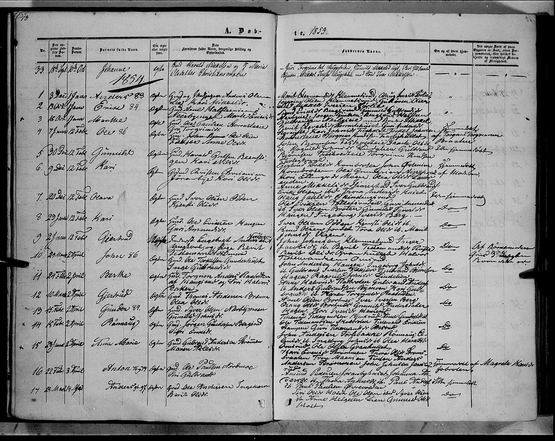 SAH, Sør-Aurdal prestekontor, Ministerialbok nr. 7, 1849-1876, s. 13