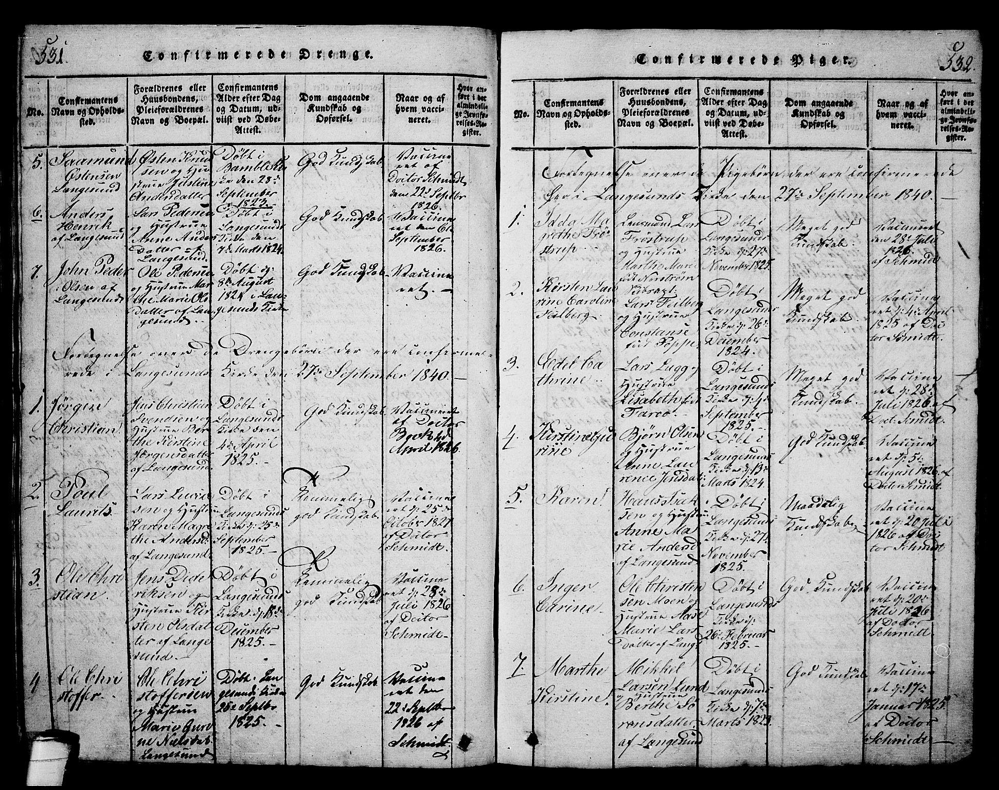 SAKO, Langesund kirkebøker, G/Ga/L0003: Klokkerbok nr. 3, 1815-1858, s. 531-532
