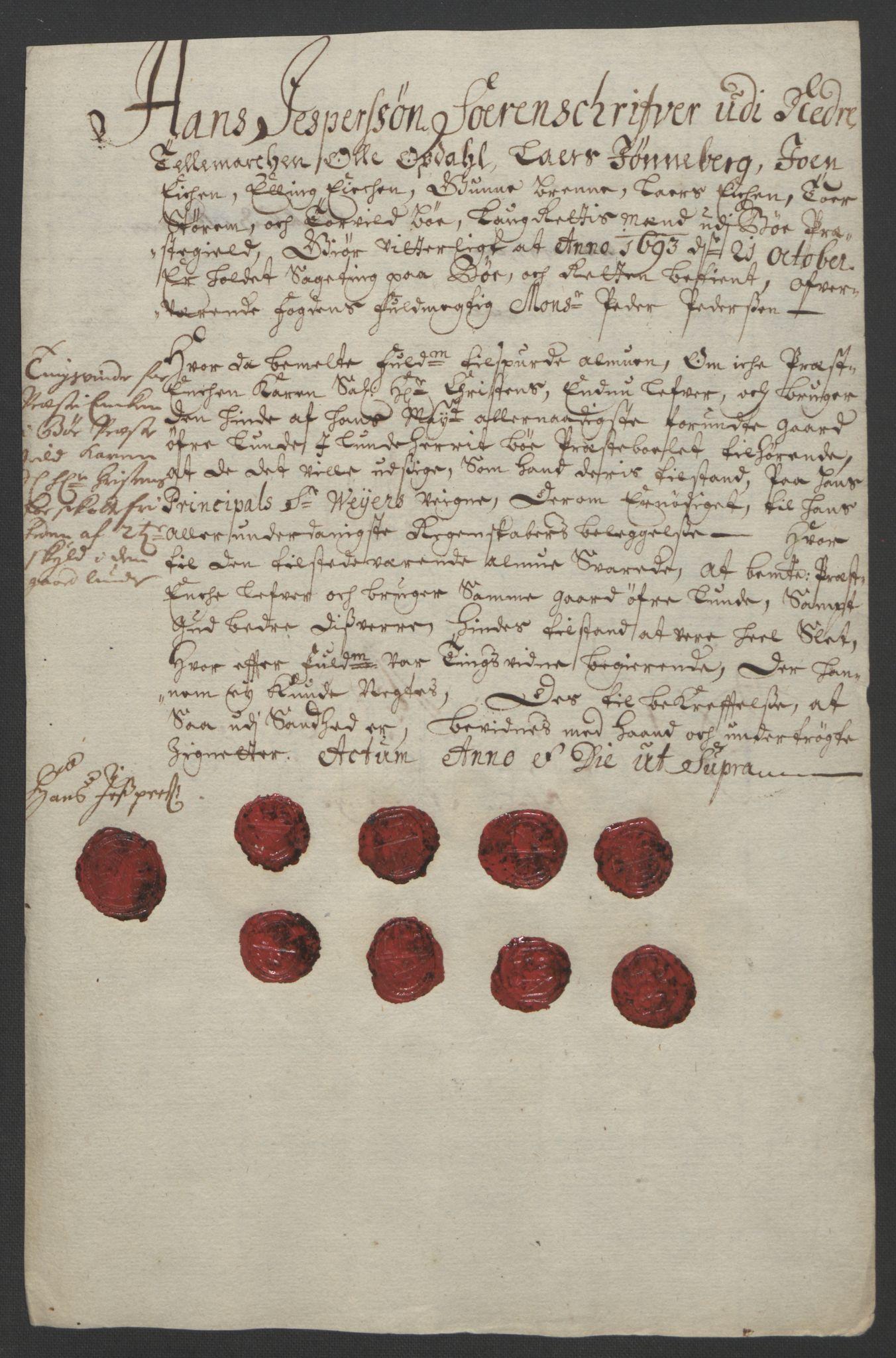 RA, Rentekammeret inntil 1814, Reviderte regnskaper, Fogderegnskap, R35/L2091: Fogderegnskap Øvre og Nedre Telemark, 1690-1693, s. 321