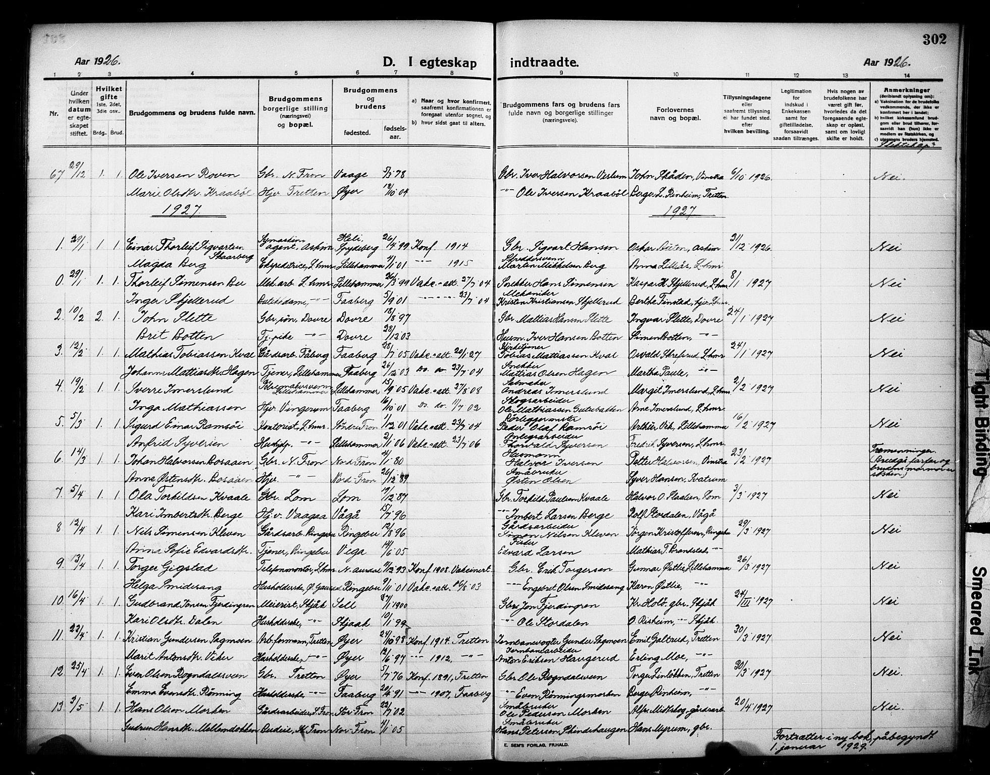 SAH, Lillehammer prestekontor, Klokkerbok nr. 2, 1913-1929, s. 302