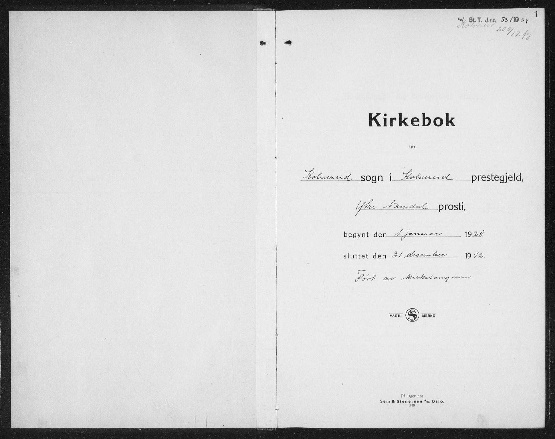 SAT, Ministerialprotokoller, klokkerbøker og fødselsregistre - Nord-Trøndelag, 780/L0654: Klokkerbok nr. 780C06, 1928-1942, s. 1