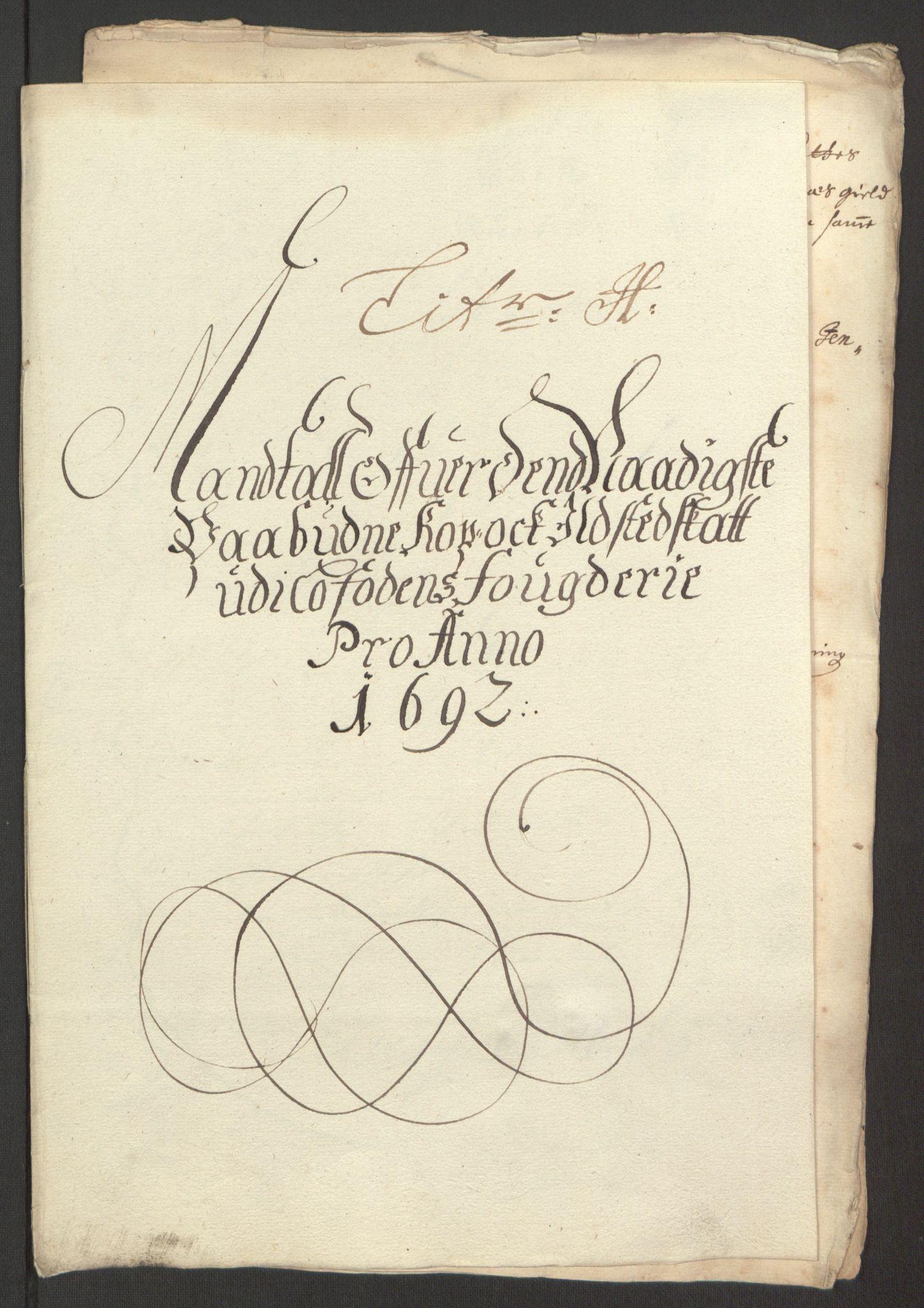 RA, Rentekammeret inntil 1814, Reviderte regnskaper, Fogderegnskap, R67/L4675: Fogderegnskap Vesterålen, Andenes og Lofoten, 1691-1693, s. 184