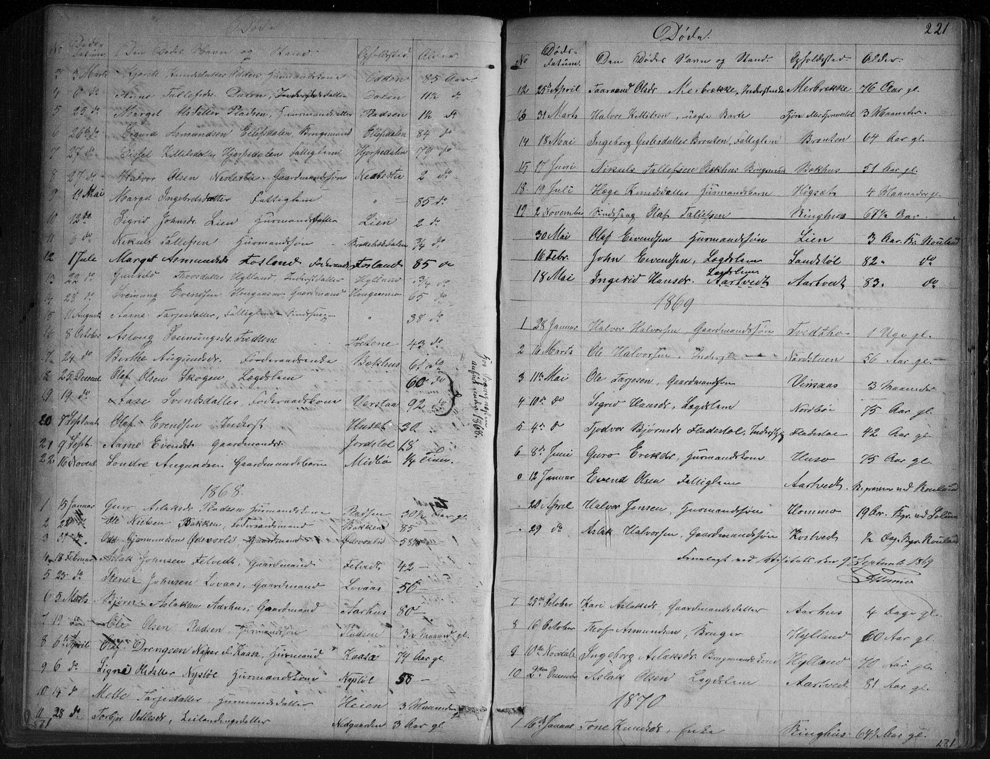 SAKO, Vinje kirkebøker, G/Ga/L0002: Klokkerbok nr. I 2, 1849-1893, s. 221
