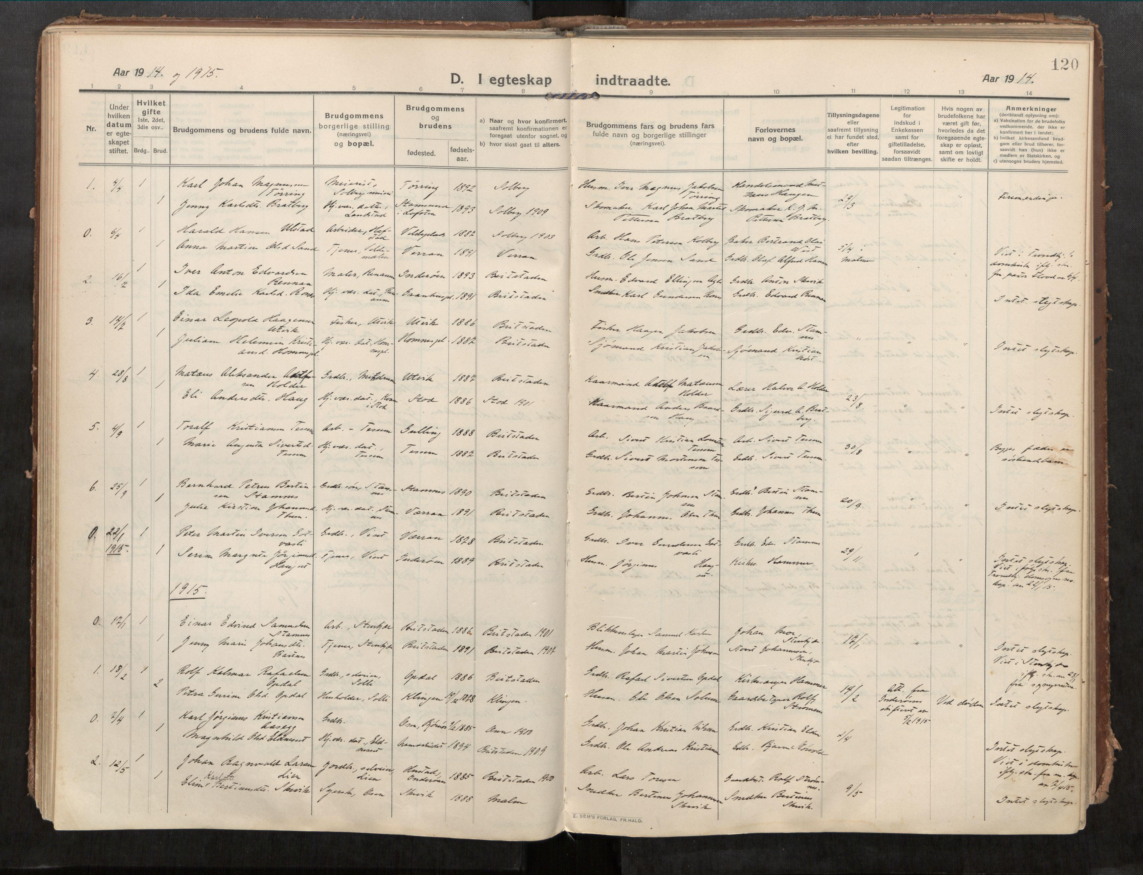 SAT, Beitstad sokneprestkontor, I/I1/I1a/L0001: Ministerialbok nr. 1, 1912-1927, s. 120