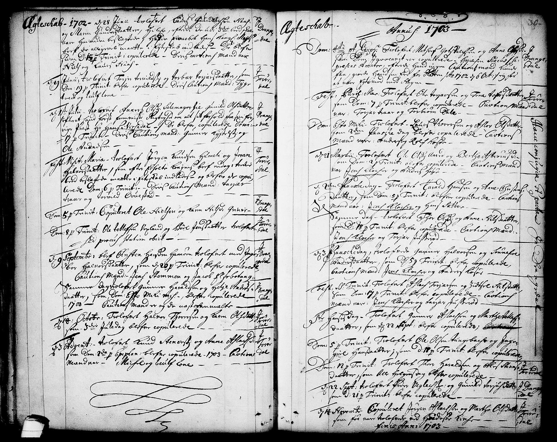 SAKO, Drangedal kirkebøker, F/Fa/L0001: Ministerialbok nr. 1, 1697-1767, s. 30