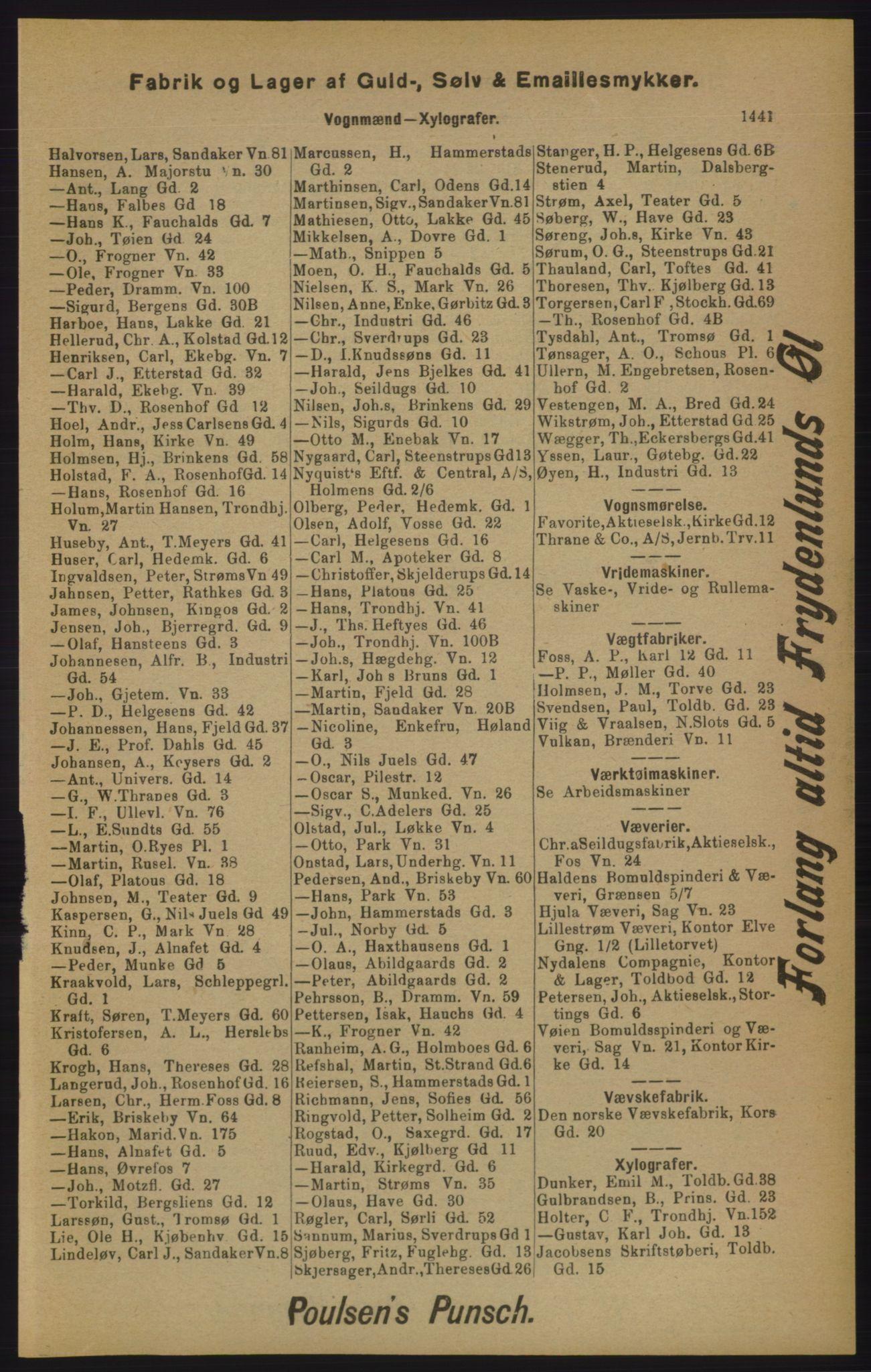 RA, Kristiania adressebok (publikasjon)*, 1905, s. 1441