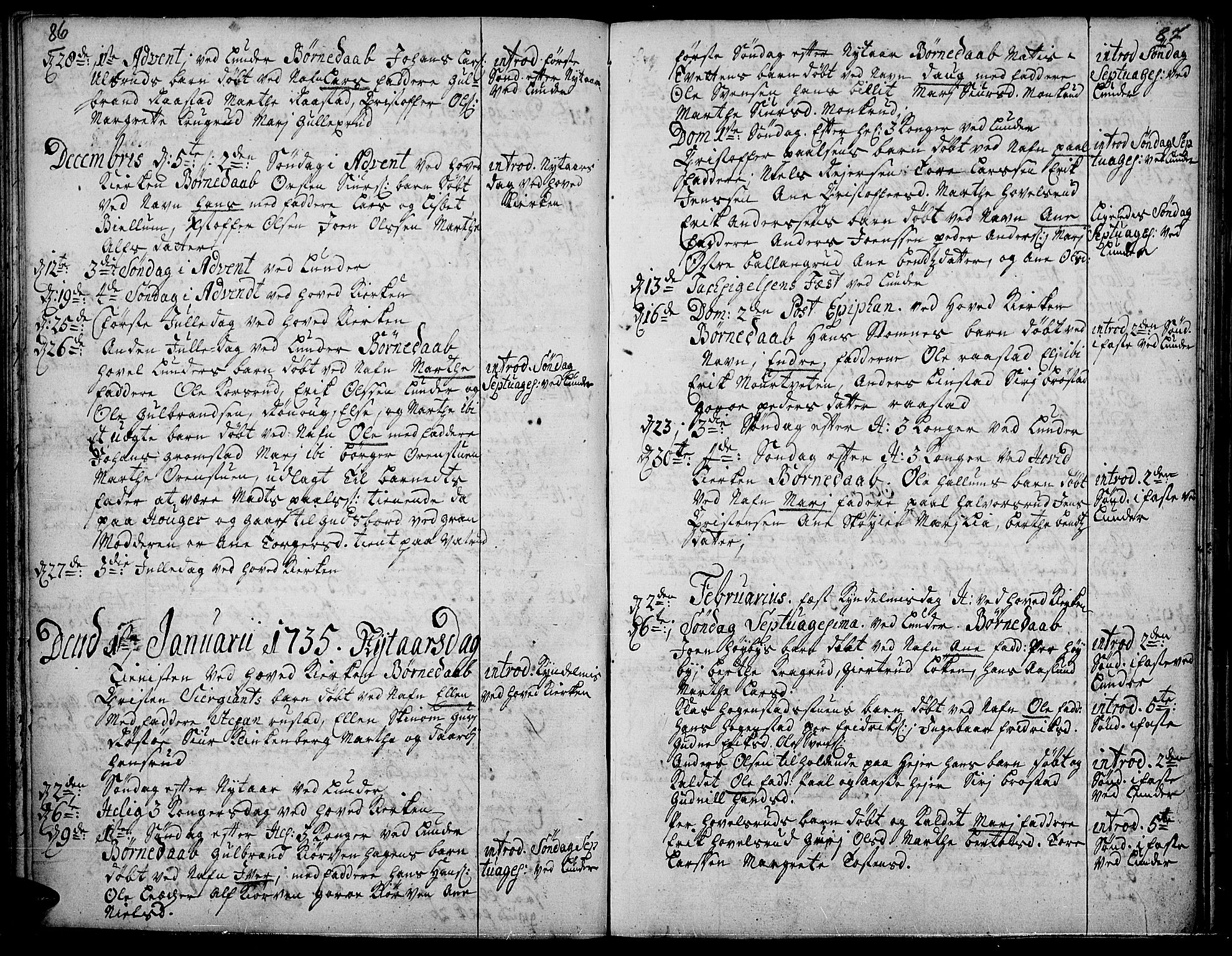 SAH, Jevnaker prestekontor, Ministerialbok nr. 2, 1725-1751, s. 86-87