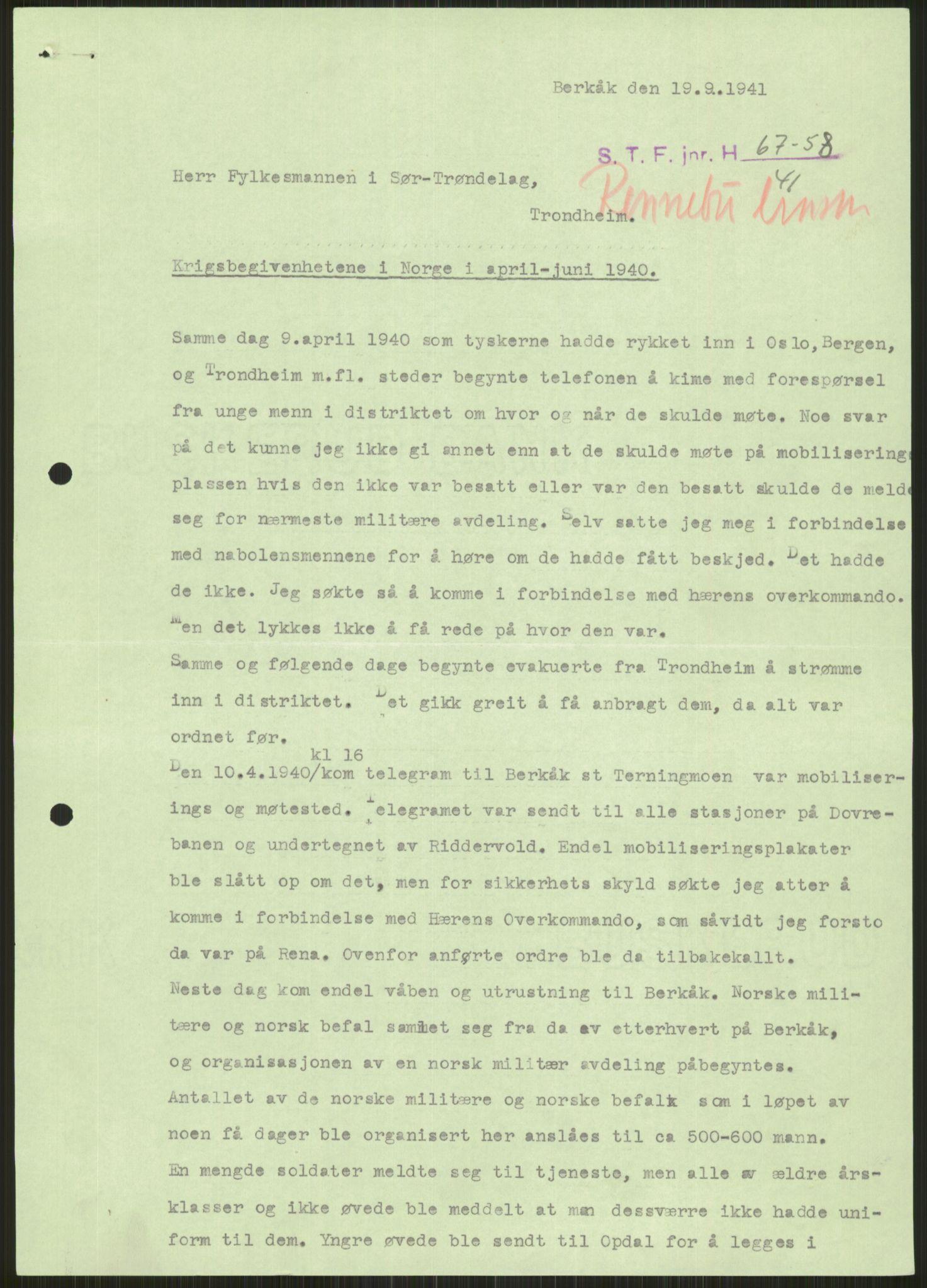 RA, Forsvaret, Forsvarets krigshistoriske avdeling, Y/Ya/L0016: II-C-11-31 - Fylkesmenn.  Rapporter om krigsbegivenhetene 1940., 1940, s. 89