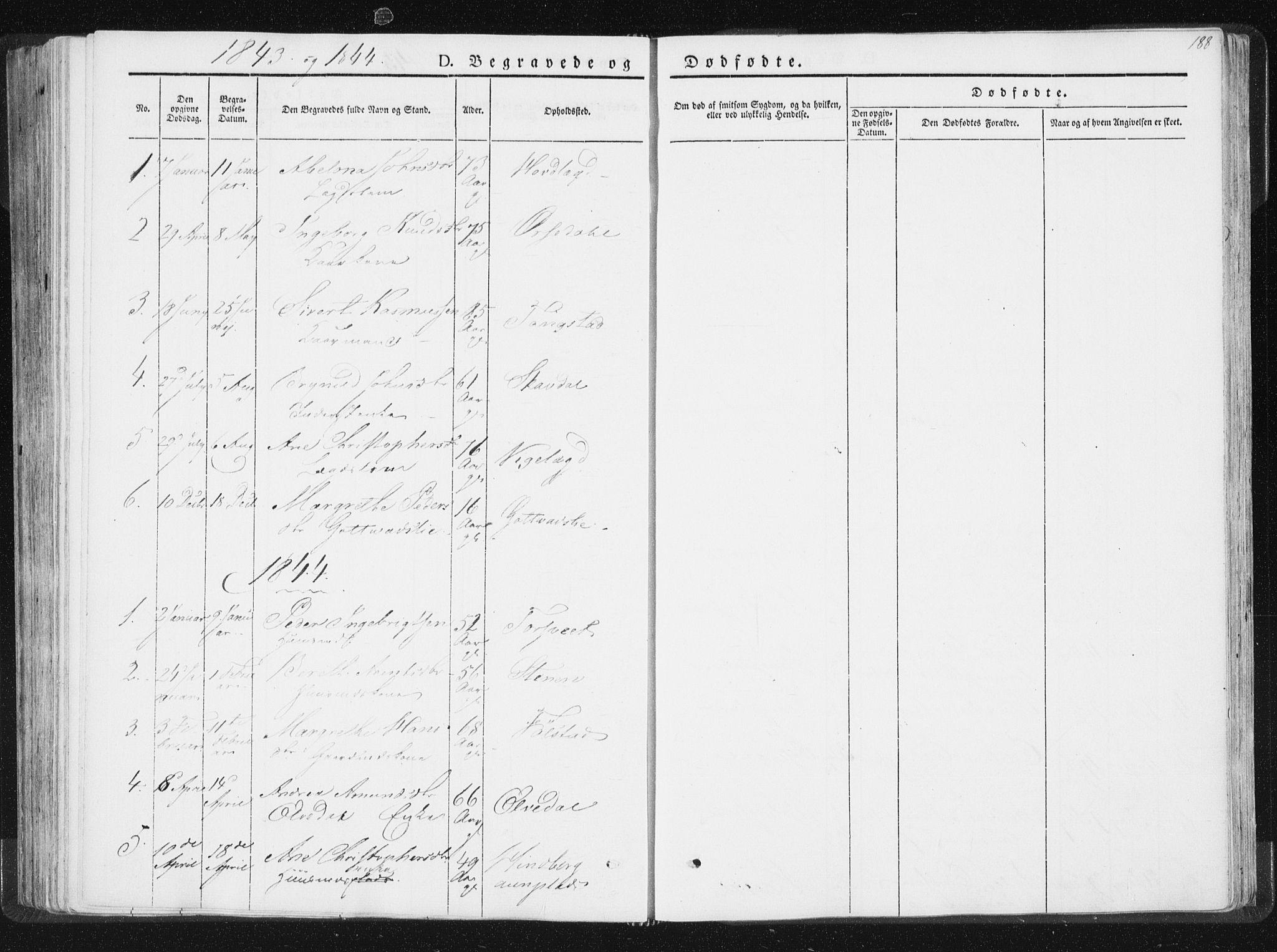 SAT, Ministerialprotokoller, klokkerbøker og fødselsregistre - Nord-Trøndelag, 744/L0418: Ministerialbok nr. 744A02, 1843-1866, s. 188