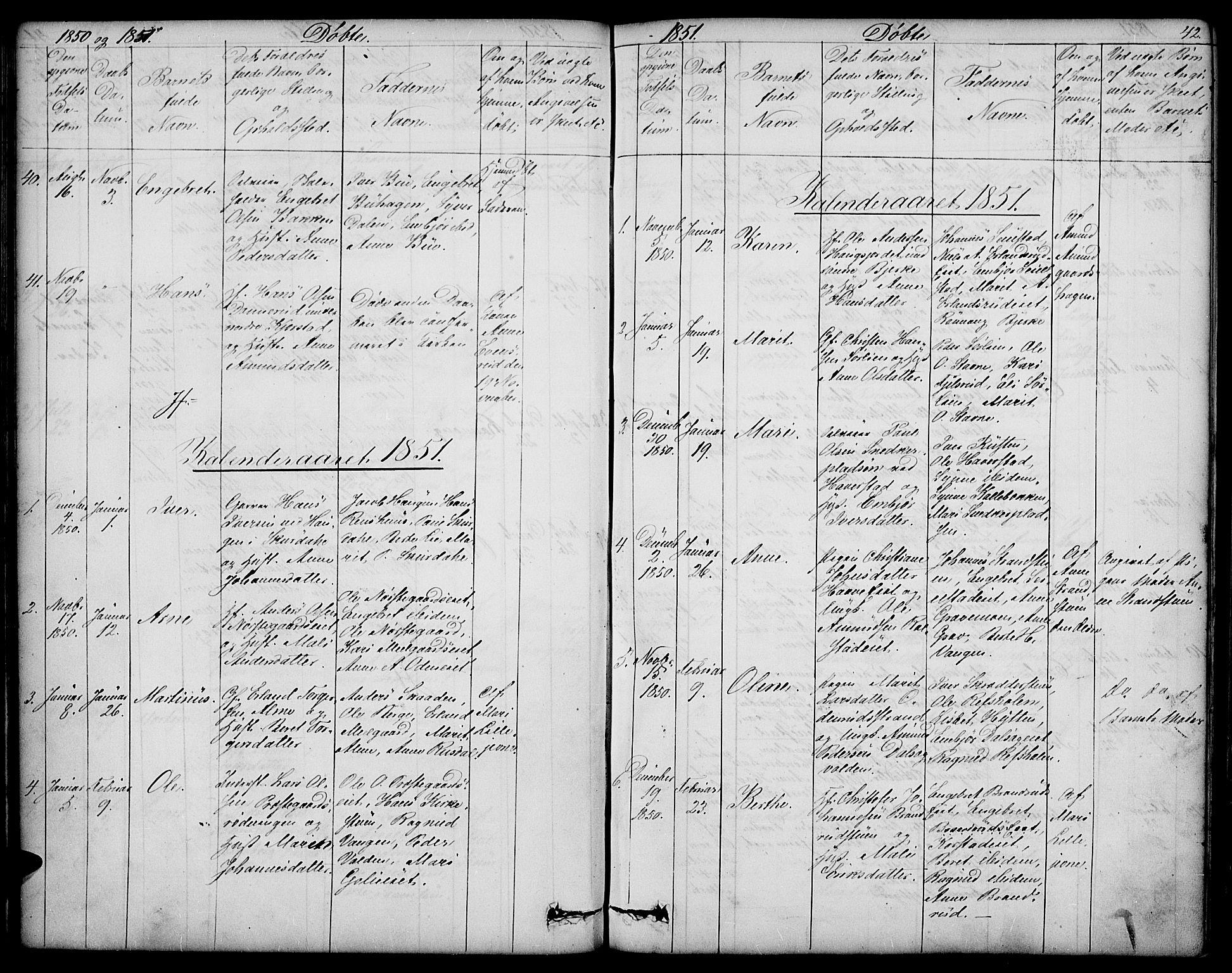 SAH, Sør-Fron prestekontor, H/Ha/Hab/L0001: Klokkerbok nr. 1, 1844-1863, s. 42