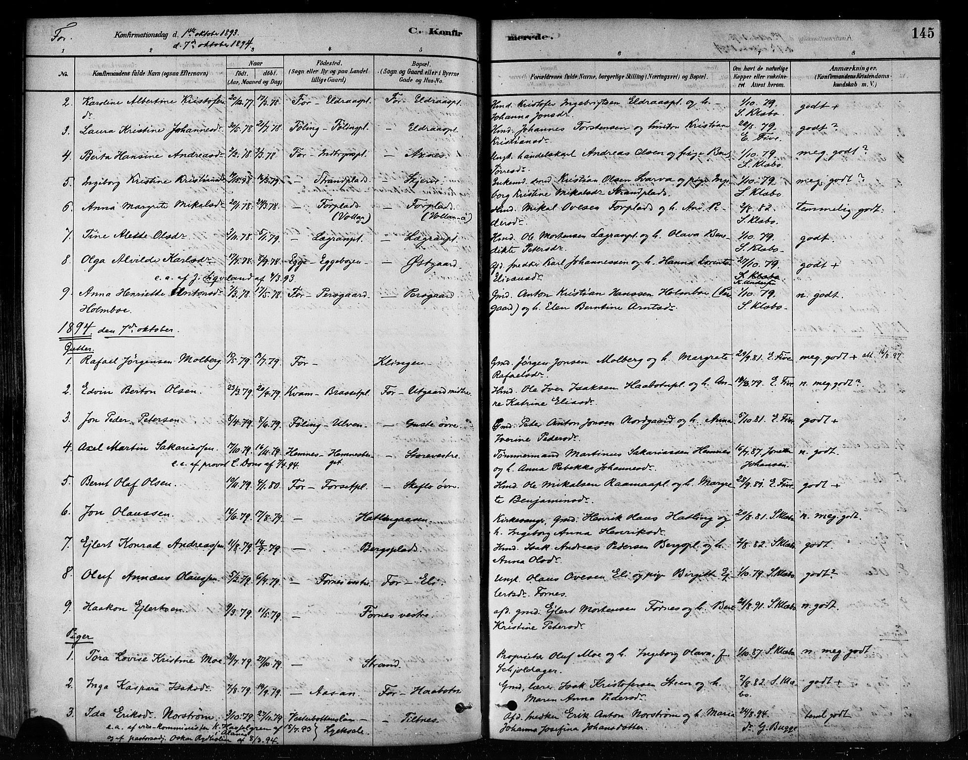 SAT, Ministerialprotokoller, klokkerbøker og fødselsregistre - Nord-Trøndelag, 746/L0448: Ministerialbok nr. 746A07 /1, 1878-1900, s. 145