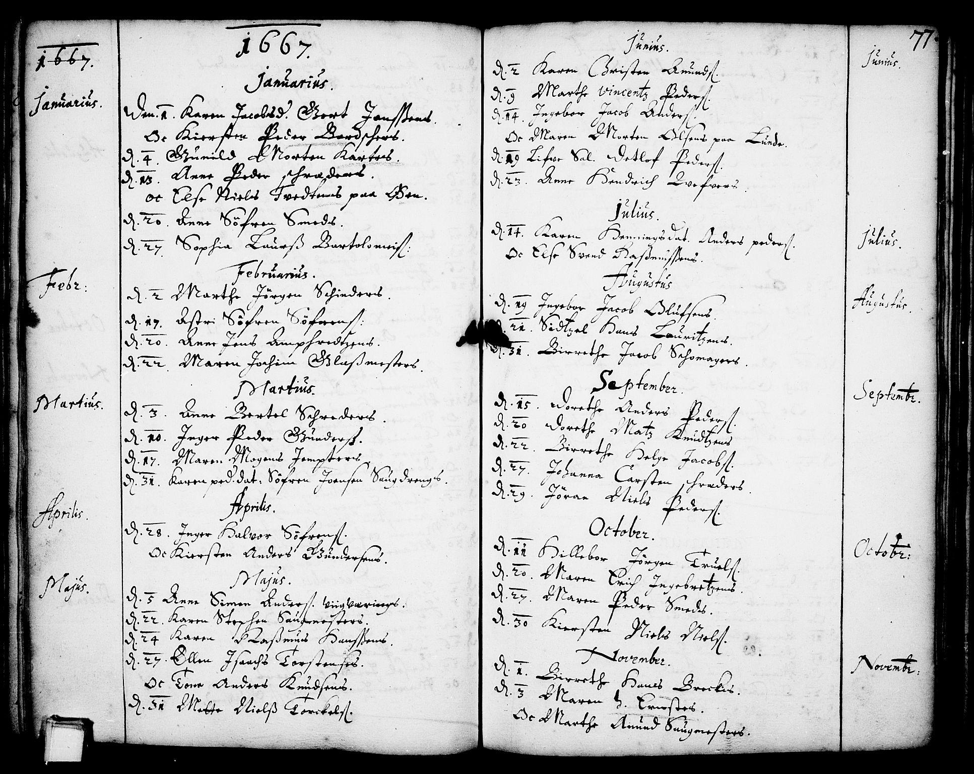 SAKO, Skien kirkebøker, F/Fa/L0001: Ministerialbok nr. 1, 1659-1679, s. 77