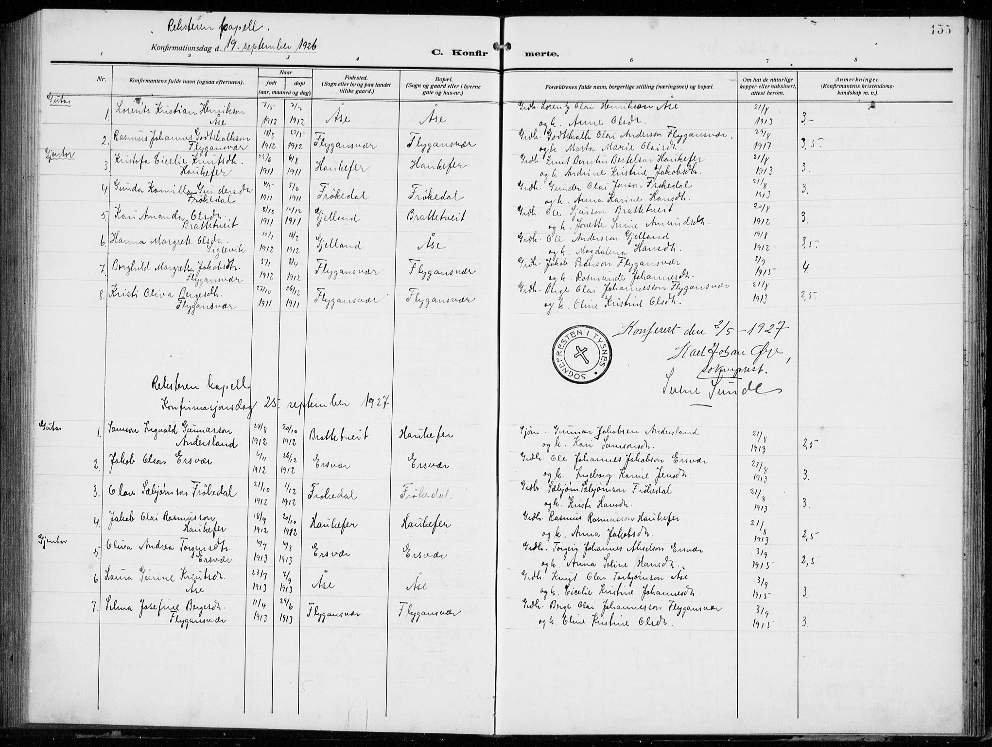 SAB, Tysnes Sokneprestembete, H/Hab: Klokkerbok nr. E  4, 1912-1936, s. 155