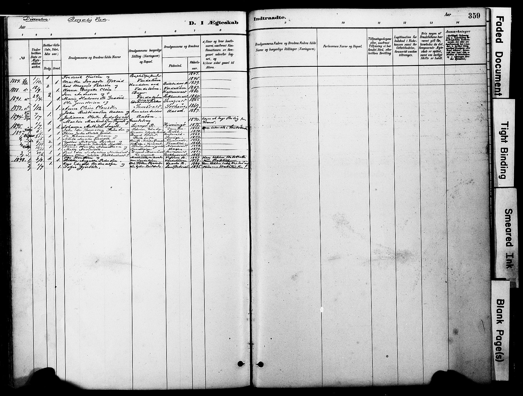 SAT, Ministerialprotokoller, klokkerbøker og fødselsregistre - Nord-Trøndelag, 723/L0244: Ministerialbok nr. 723A13, 1881-1899, s. 359