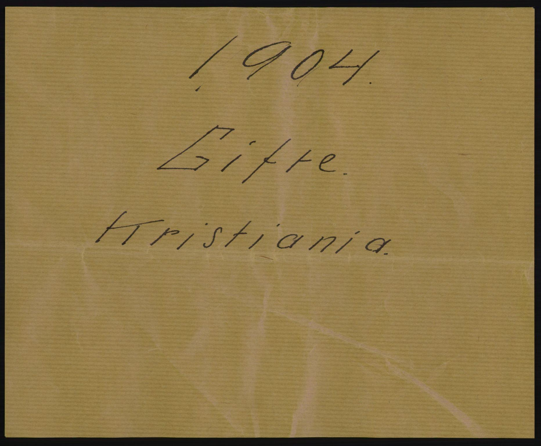 RA, Statistisk sentralbyrå, Sosiodemografiske emner, Befolkning, D/Df/Dfa/Dfab/L0004: Kristiania: Gifte, døde, 1904