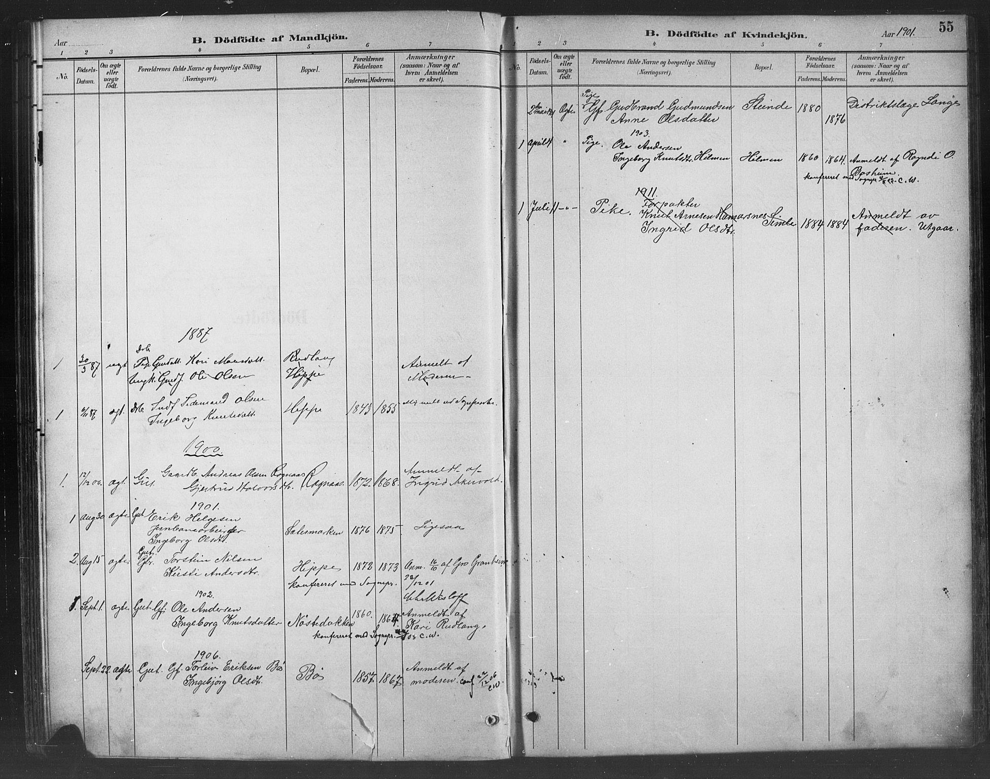 SAH, Nord-Aurdal prestekontor, Klokkerbok nr. 8, 1883-1916, s. 55