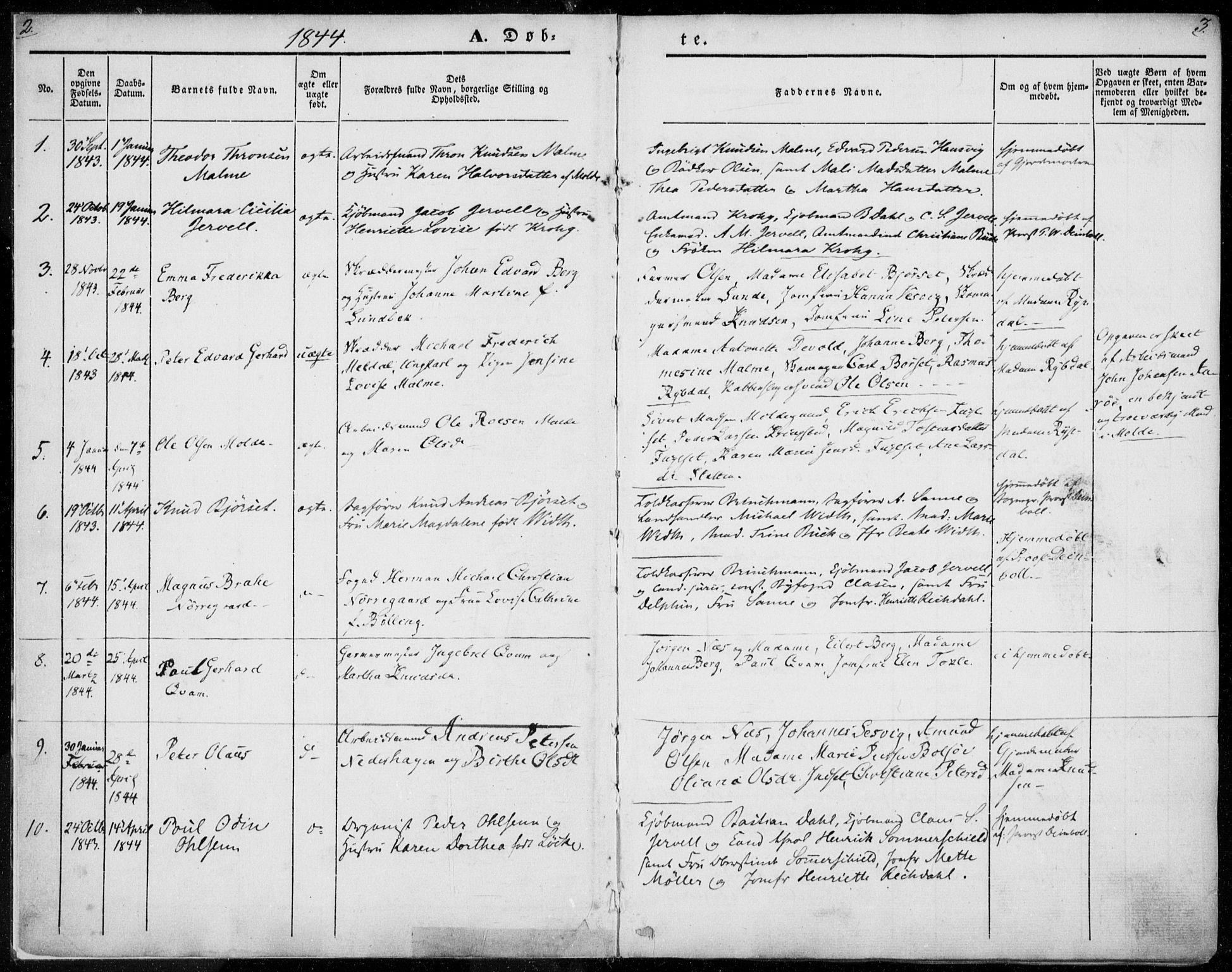 SAT, Ministerialprotokoller, klokkerbøker og fødselsregistre - Møre og Romsdal, 558/L0689: Ministerialbok nr. 558A03, 1843-1872, s. 2-3